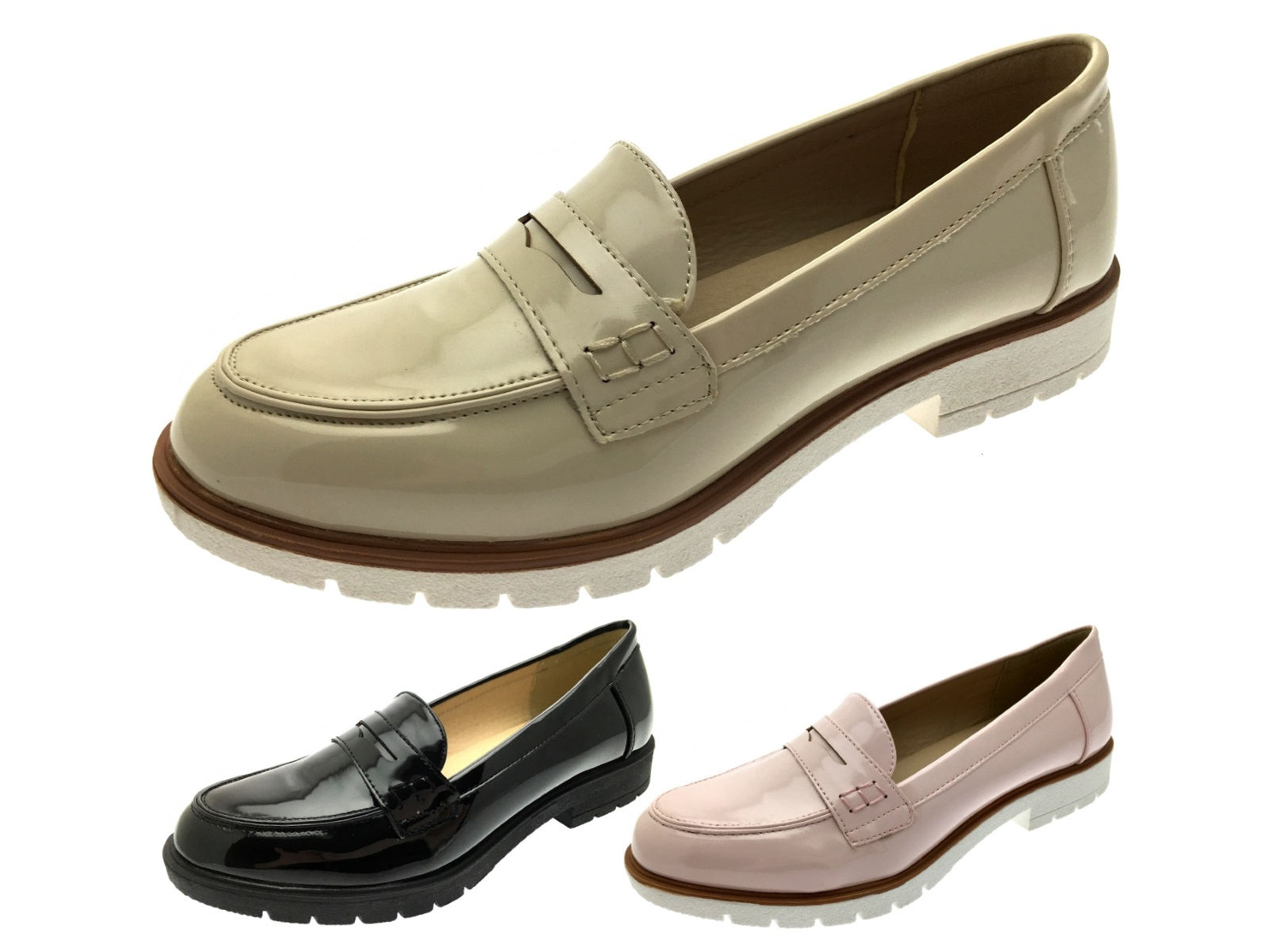 e45cddfcbf8aa Details about Womens Slip On Flat Loafers Faux Leather Moccasins Ladies  Casual Comfort Shoes
