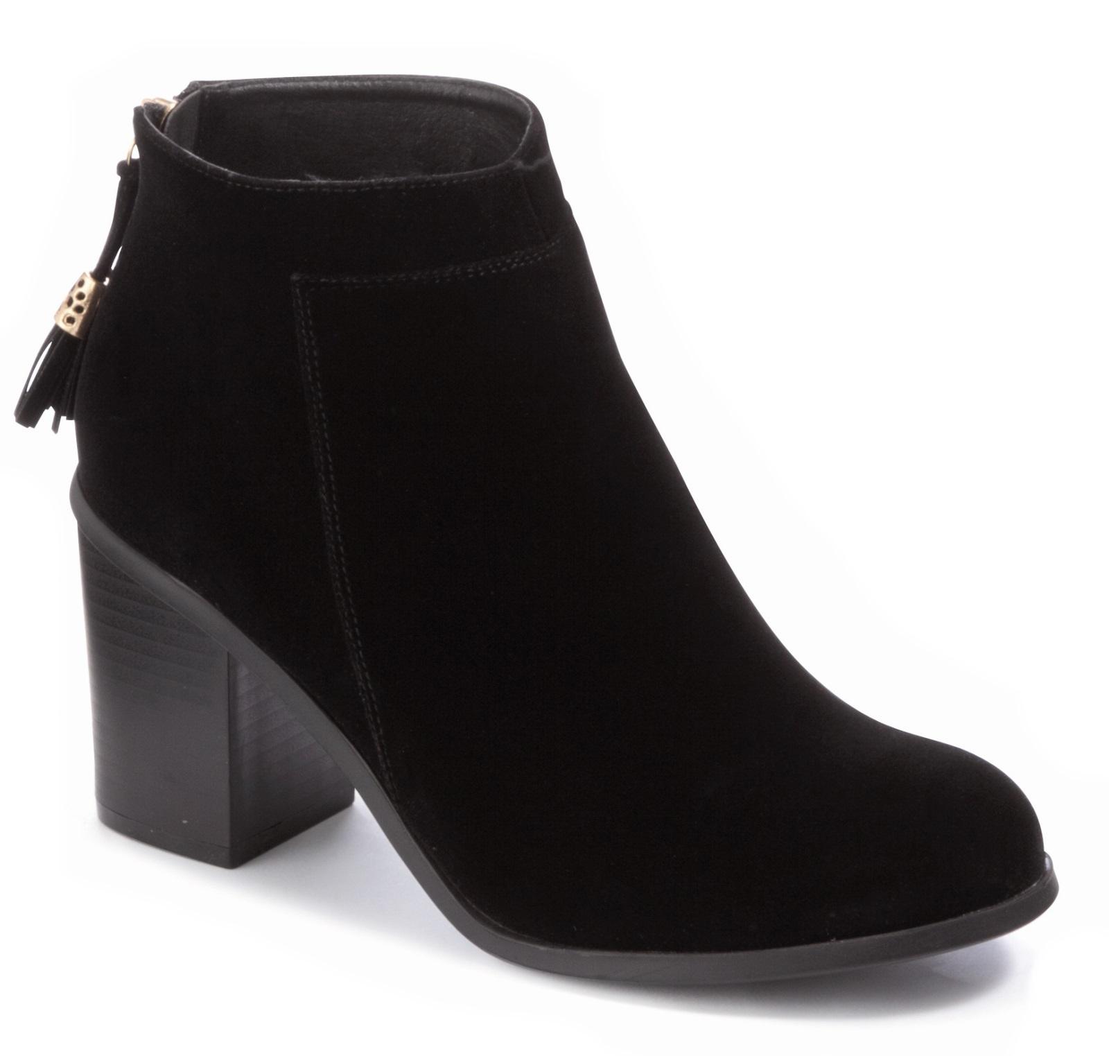 Womens Black Ankle Boots Comfortable Block Heels Chelsea Faux ... bdf5db399e