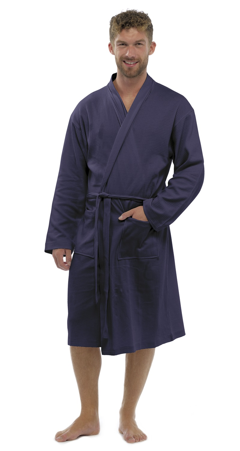 Mens 100% Cotton Waffle Robe Bathrobe Dressing Gown Belted Housecoat ...