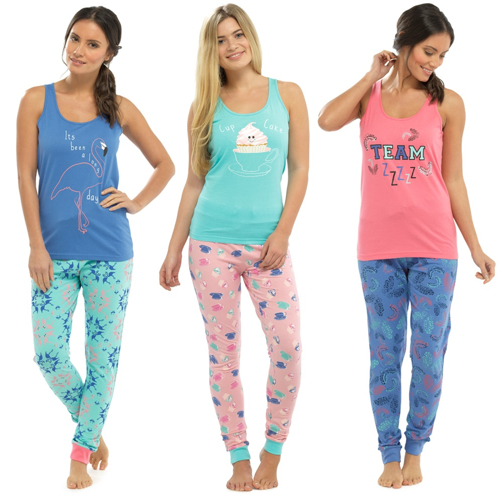 Womens Pyjamas 2 Piece Set Vest Top + Leggings Full Length Pjs Lounge Set  Size 0a48623cc