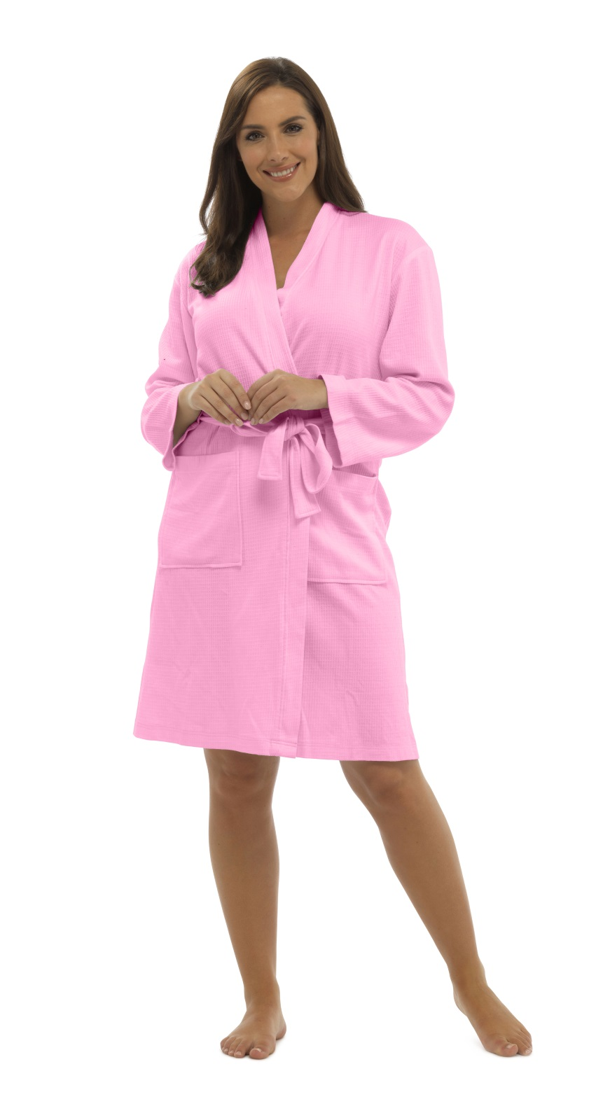 real deal website for discount latest style Womens 100 Cotton Waffle Bathrobe Belt Dressing Gown Housecoat Ladies Size  Pink S