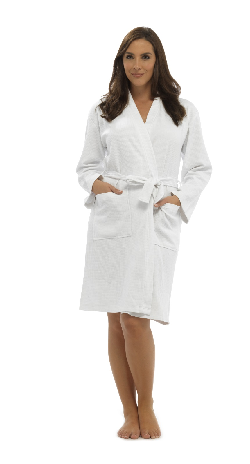 Womens 100 Cotton Waffle Bathrobe Belt Dressing Gown Housecoat ...