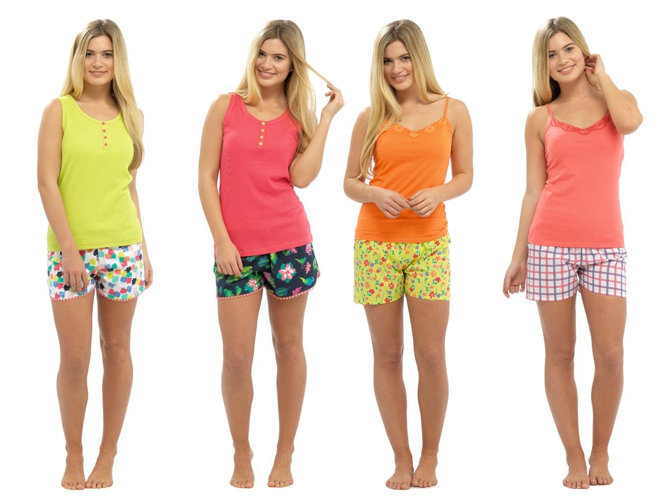 Womens Pyjamas Vest Top and Shorts Set 2 Piece Short Pjs Ladies ... 23dec3d5f