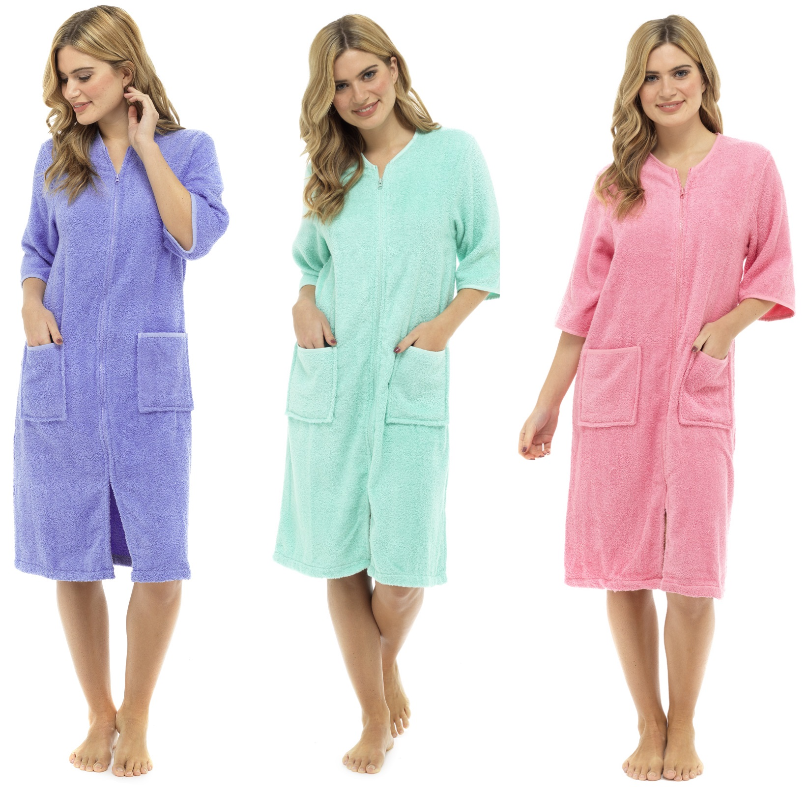 Womens 100% Cotton Zip Robe Dressing Gown Terry Towelling Shower ...