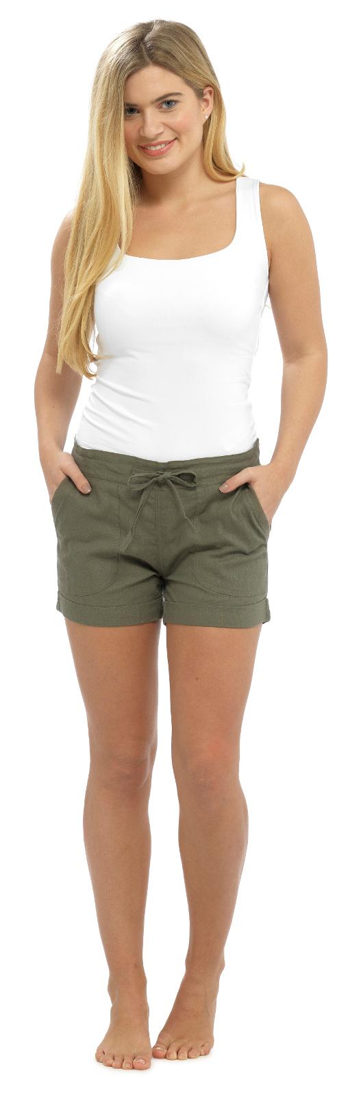 0de449a625919f Details about Womens Linen Shorts With Elasticated Waist Holiday Beach Hot  Pants Girls Size