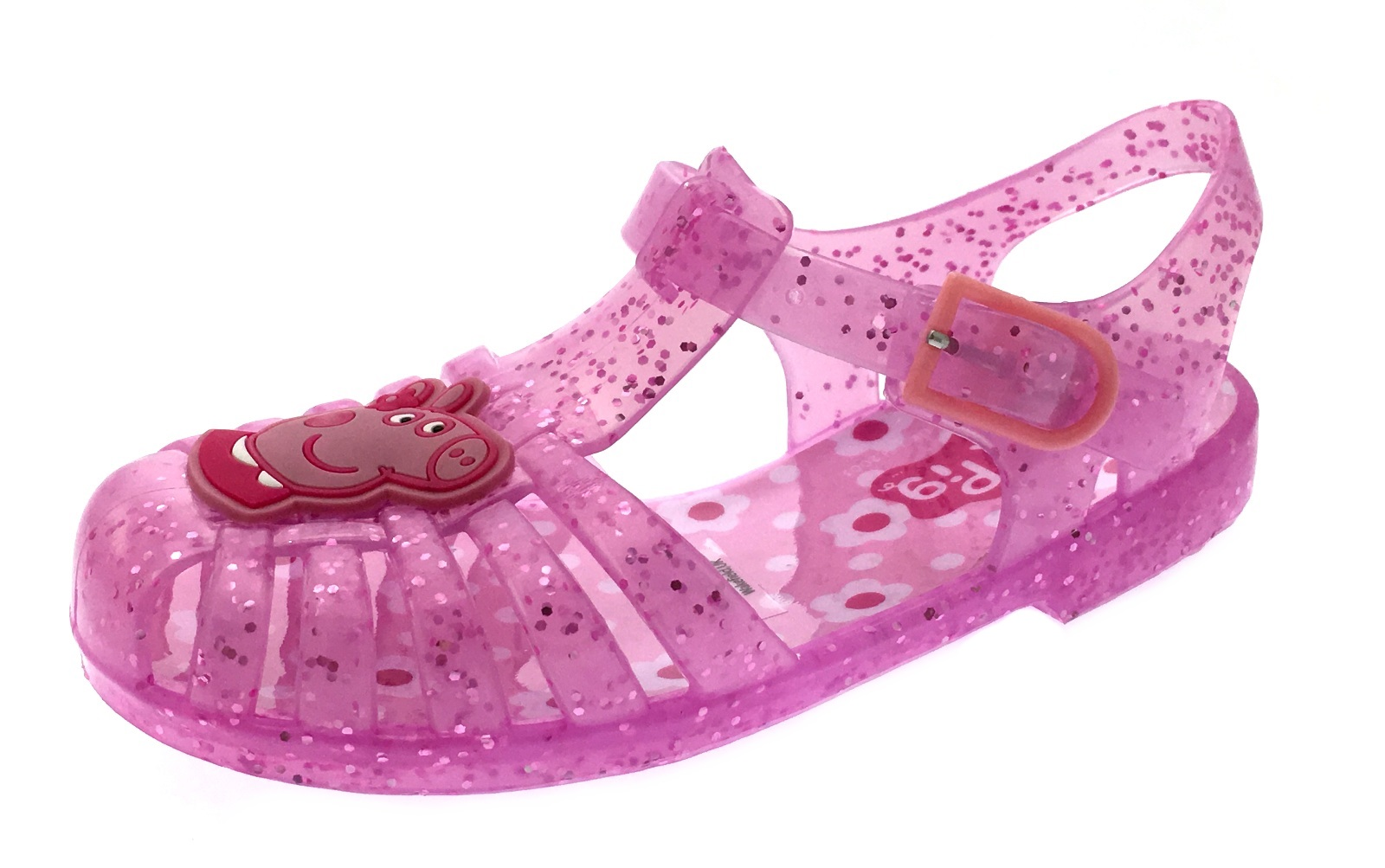 e6fd27f2ad35 Girls Pink Glitter Peppa Pig Jelly Sandals Beach Jellies Kids Shoes ...