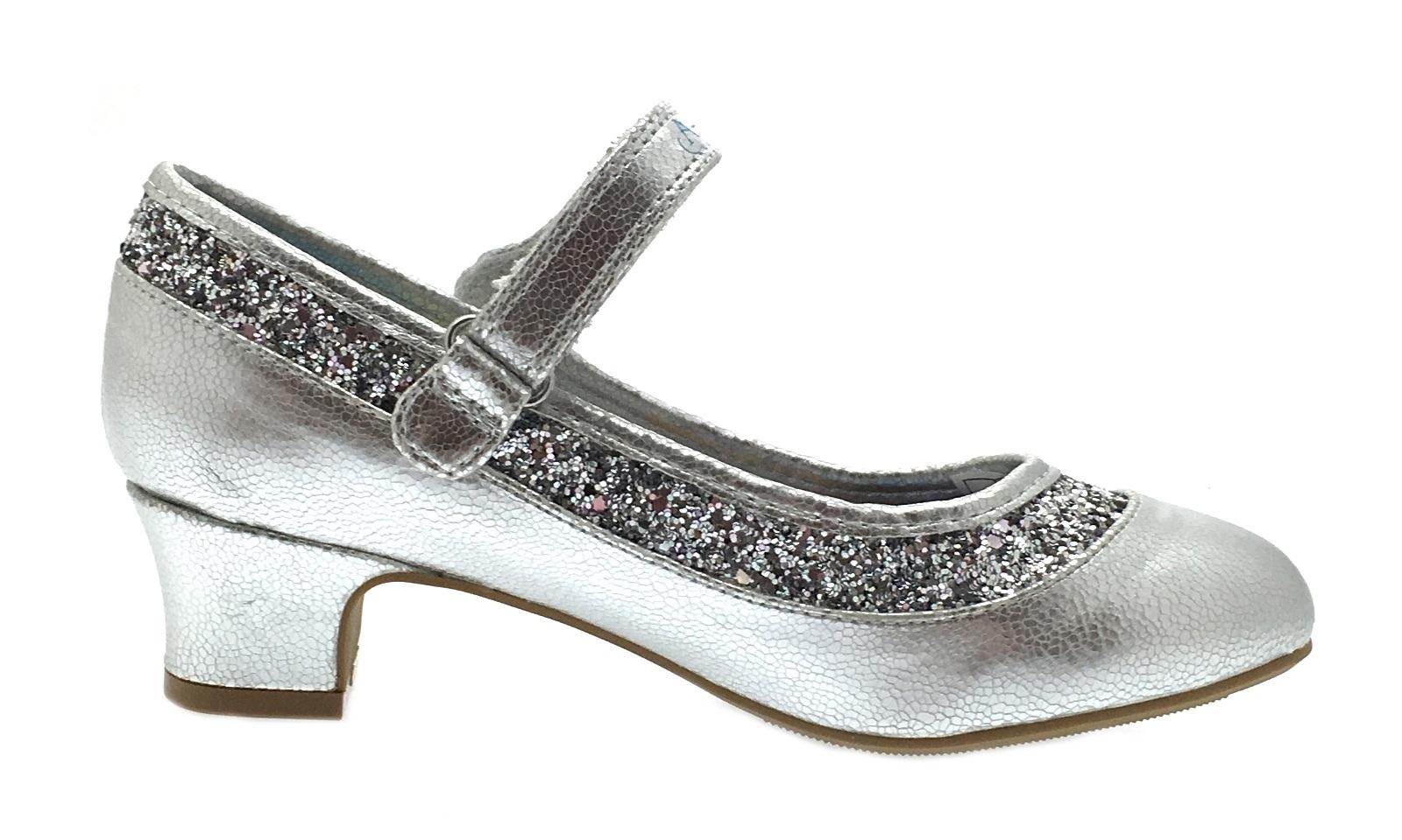 c338656bf08 Kids Girls Disney Frozen Dress Up Shoes Glitter Princess Low Heels ...