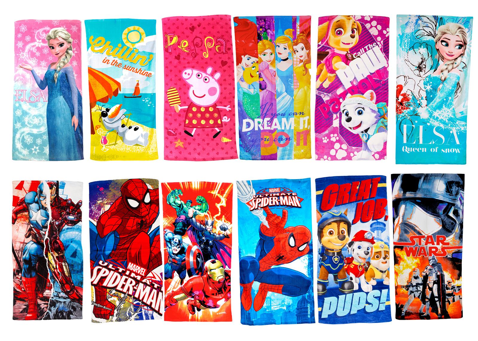 Kids Disney Cartoon Character Beach Towel Holiday Bath Swimming 100