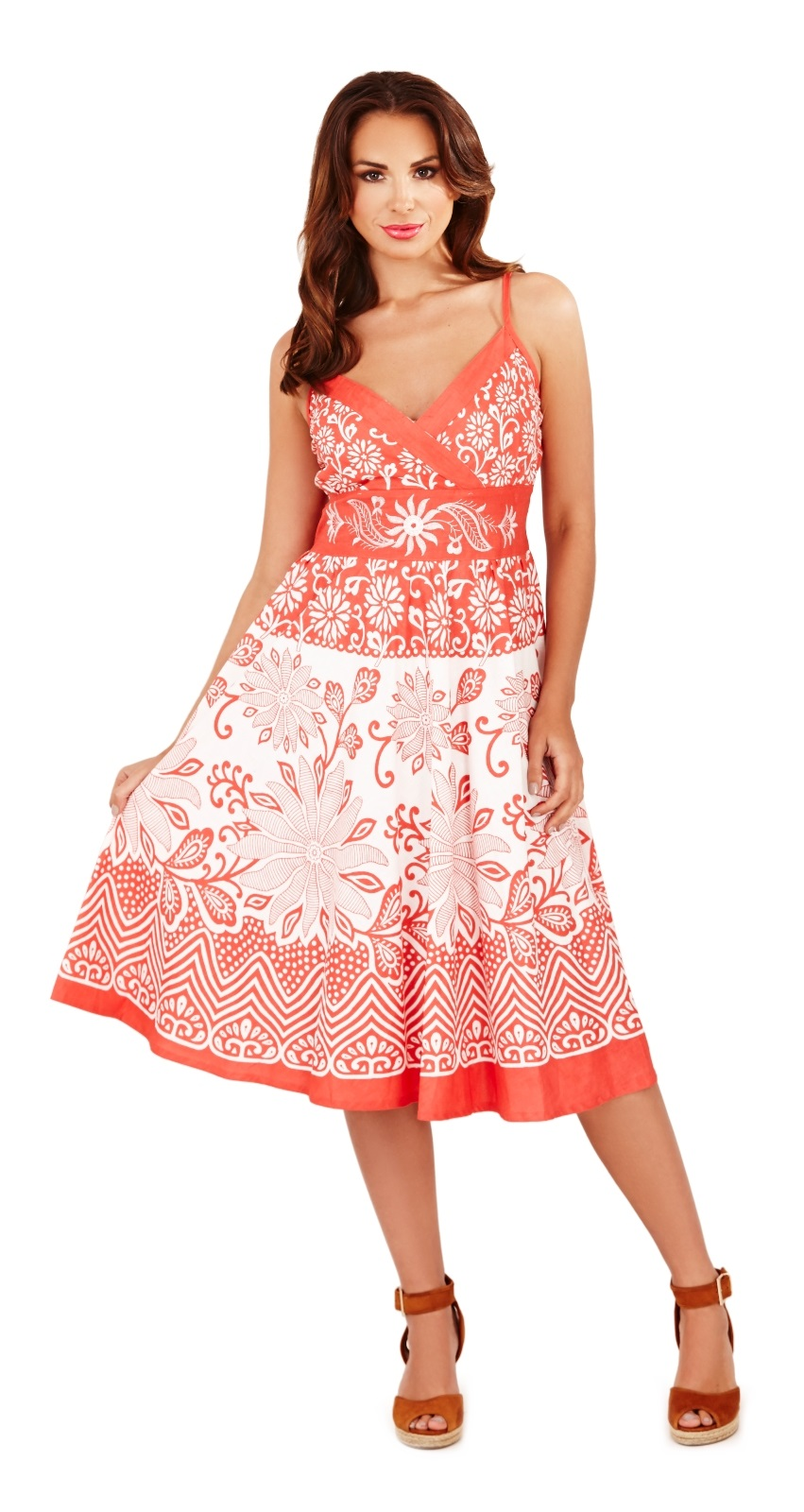 Womens Summer Dress 100% Cotton V Neck Floral Mid Length