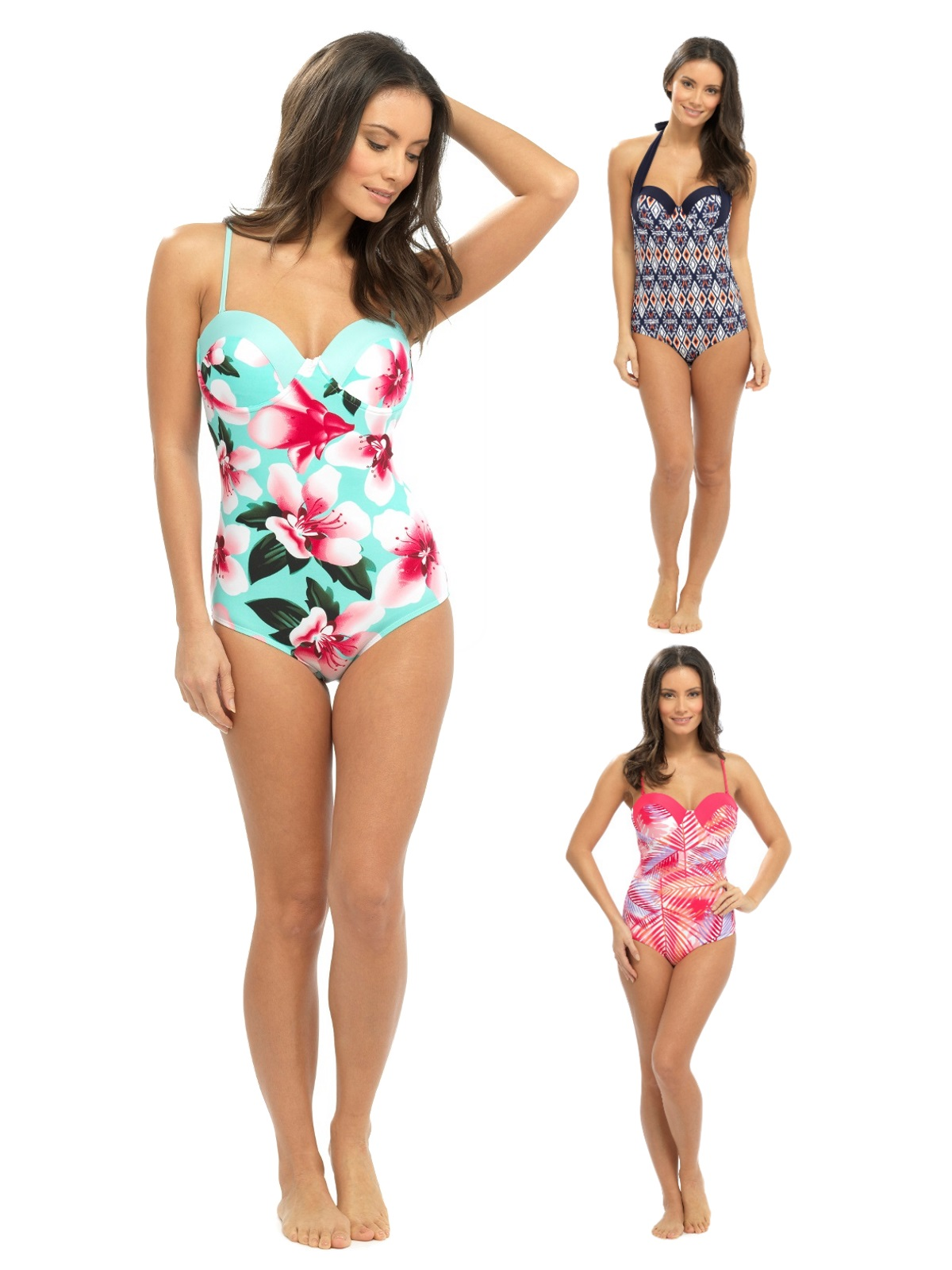 Womens Swimming Costume Underwired Push Up Swimsuit Backless All In