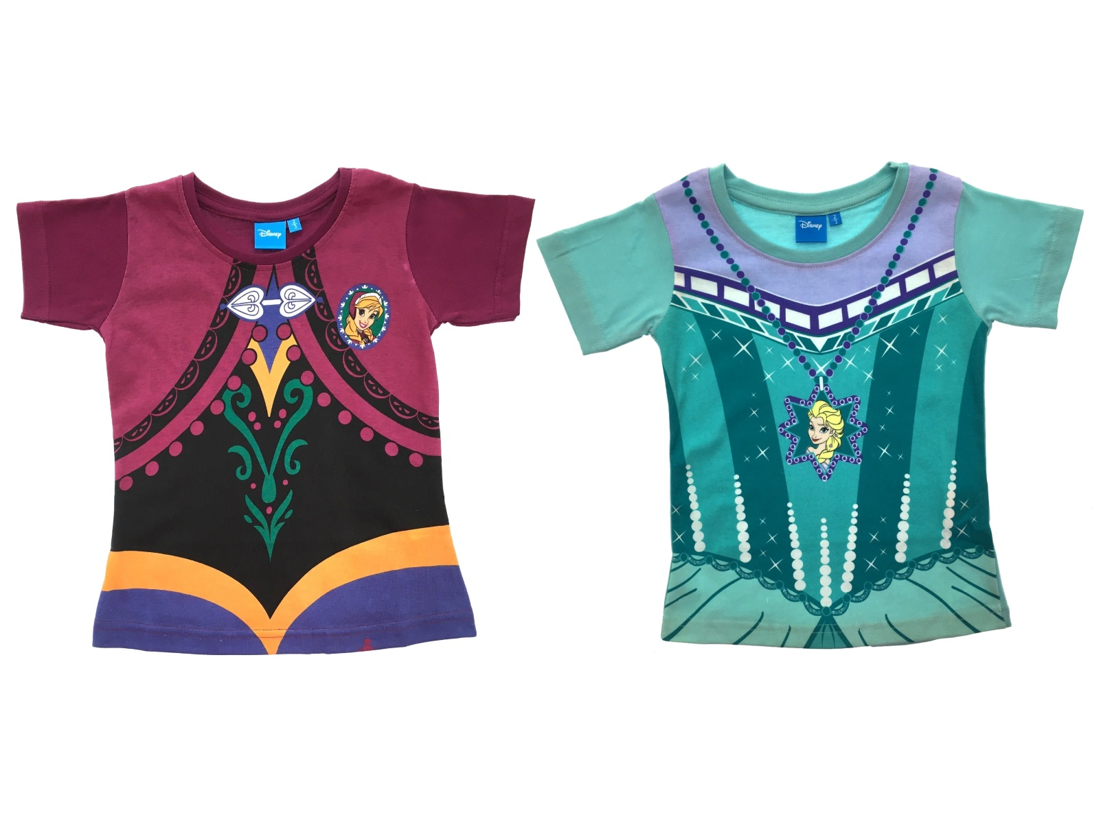Girls Disney Frozen Fancy Dress Up Costume Short Sleeve Anna Elsa T Shirt Size  sc 1 st  eBay & Girls Disney Frozen Fancy Dress Up Costume Short Sleeve Anna Elsa T ...