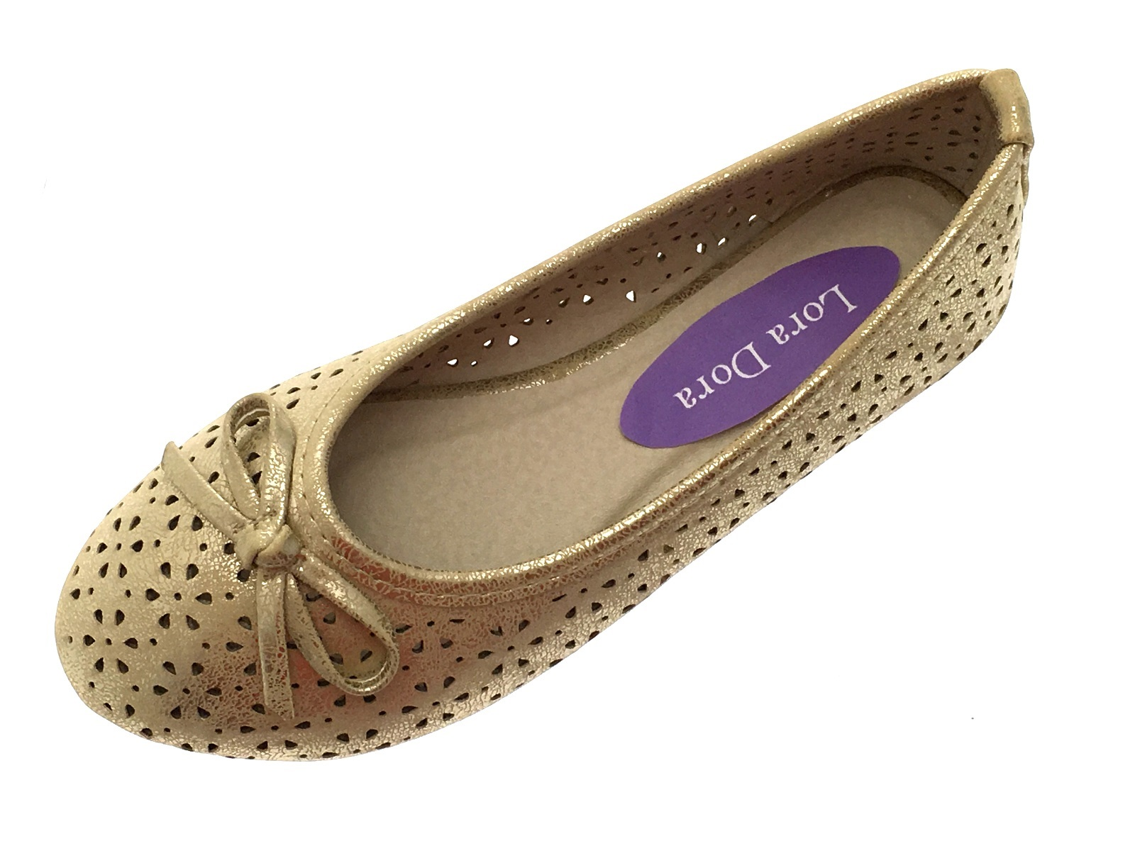 Girls Metallic Cut Out Ballet Pumps Flat Kids Slip On Party Wedding Shoes Size
