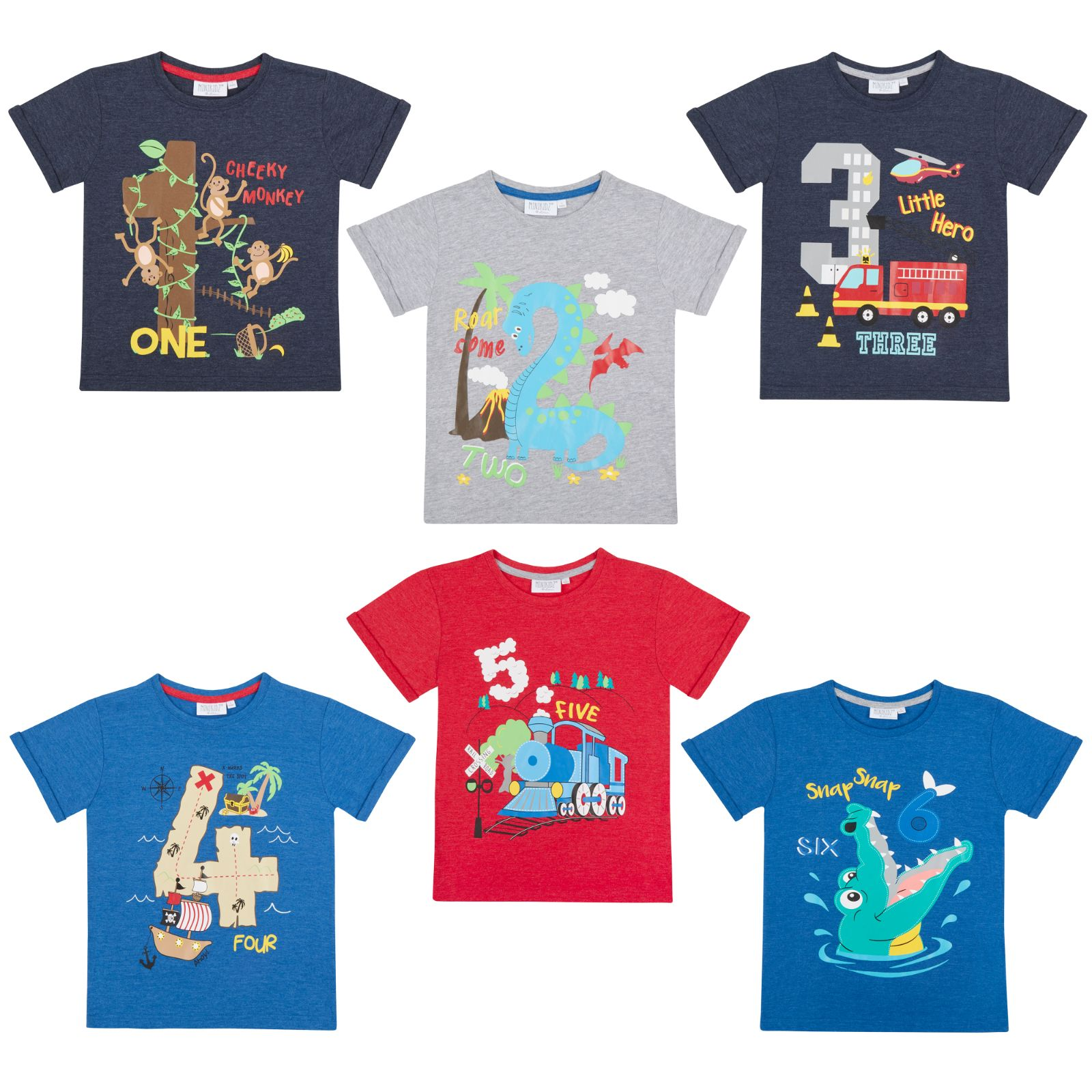 Boys Novelty Birthday I Am 1 2 3 4 5 6 Age Number T Shirt Short Sleeve Top Kids