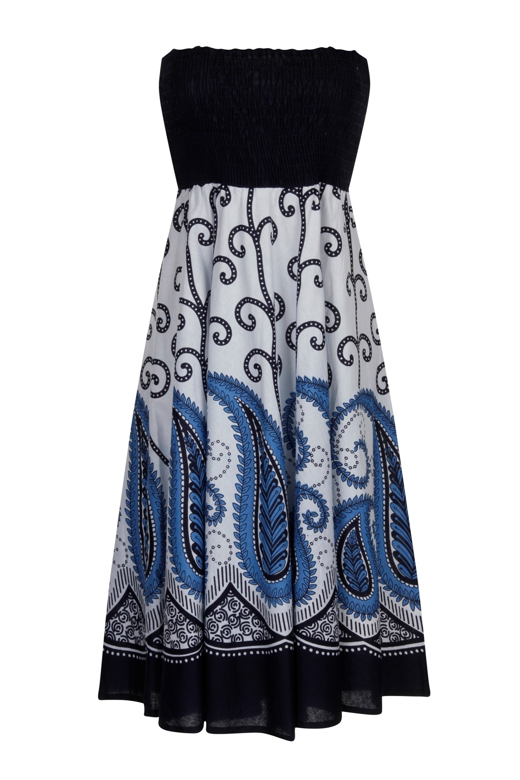 fc50cee2413a Womens 2 In 1 Strapless Cotton Beach Summer Dress   Long Maxi Skirt ...