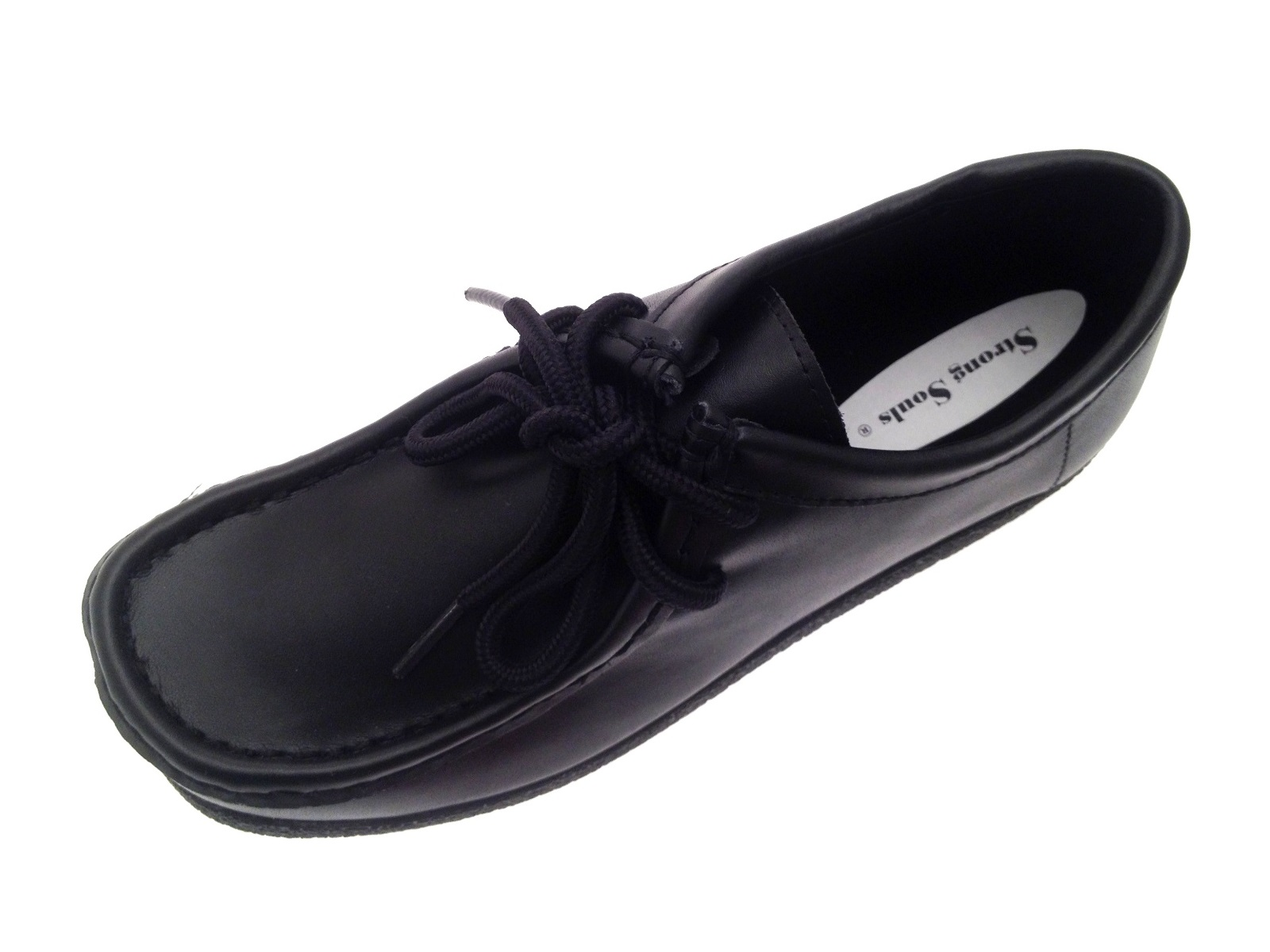 Girls Black Leather School Shoes Womens Lace Up Work Loafers ... f12ef0630