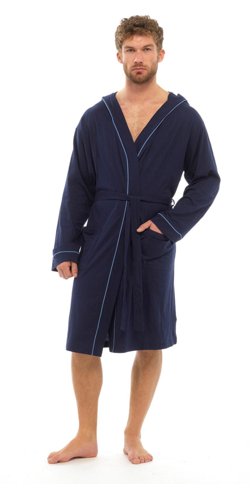 Mens Lightweight Hooded Robe Summer Dressing Gown 100 Cotton