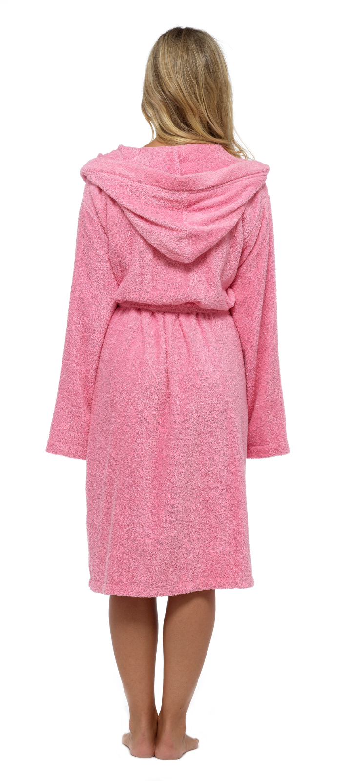 Womens Pure 100 Cotton Robe Luxury Toweling Hooded Bath