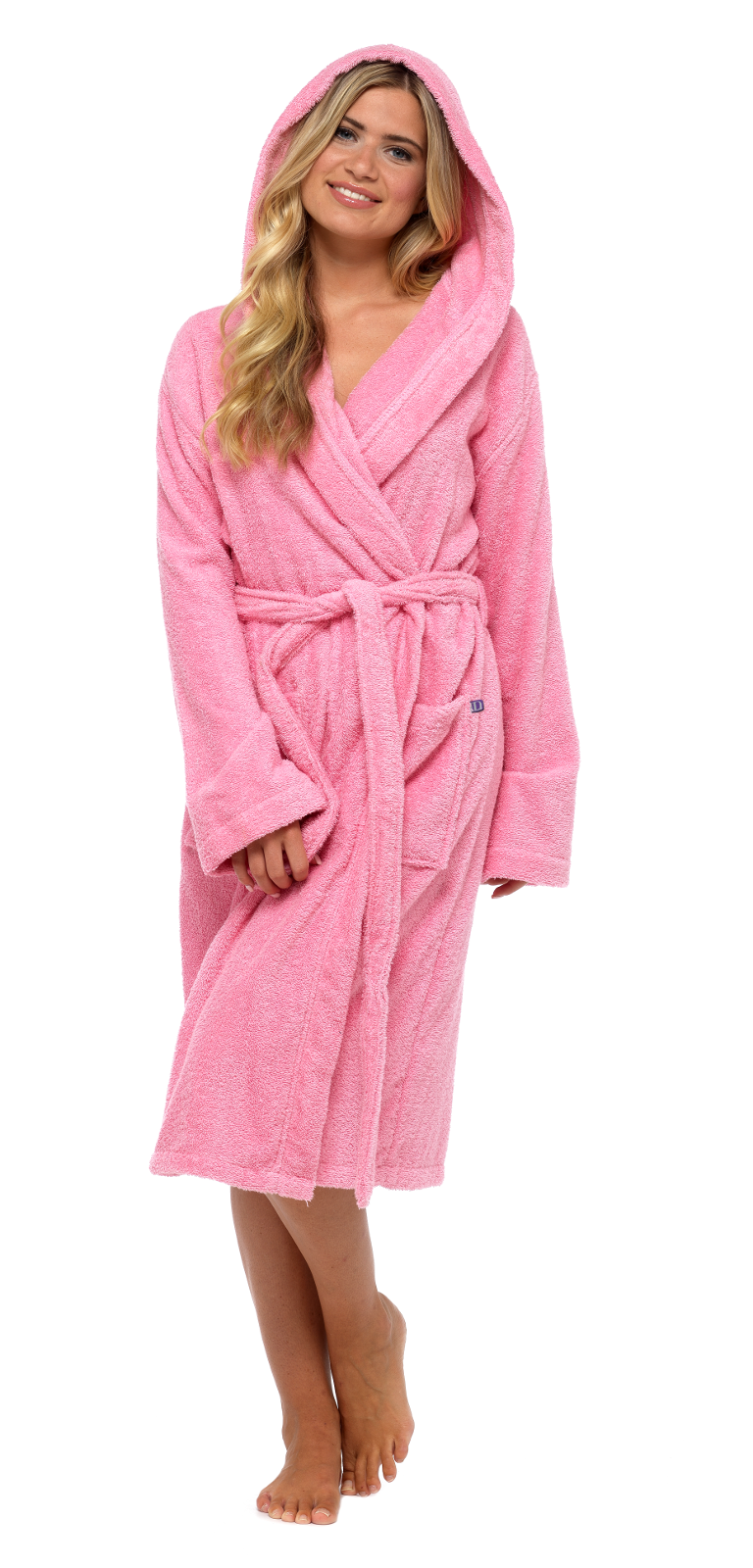 f69f10a247 Womens Pure 100% Cotton Robe Luxury Toweling Hooded Bath Robes ...