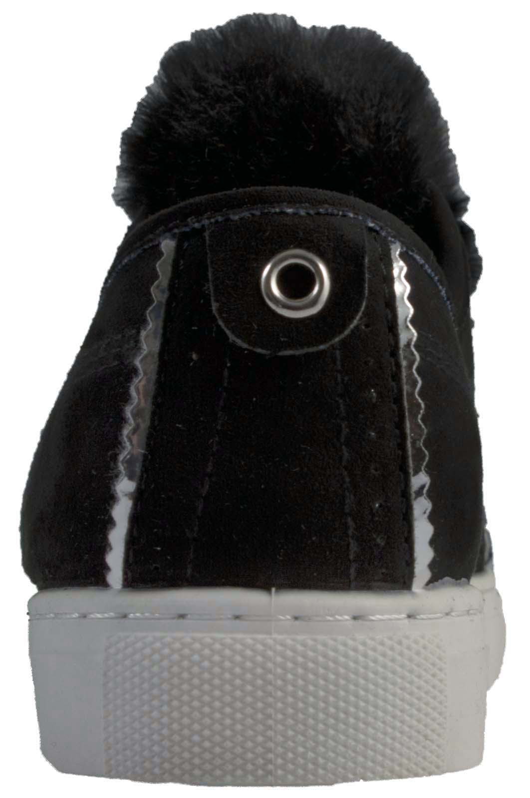 Girls black Skater Trainer Pump Lace Up with pom poms Fashion solid black sole