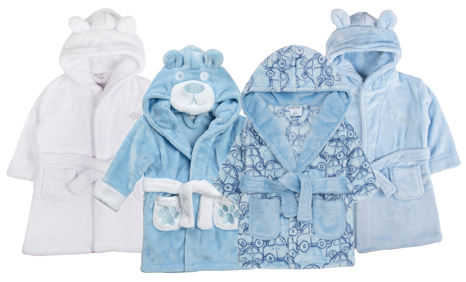 Baby Boys Hooded Fleece Dressing Gown Soft Bath Robe Wrap