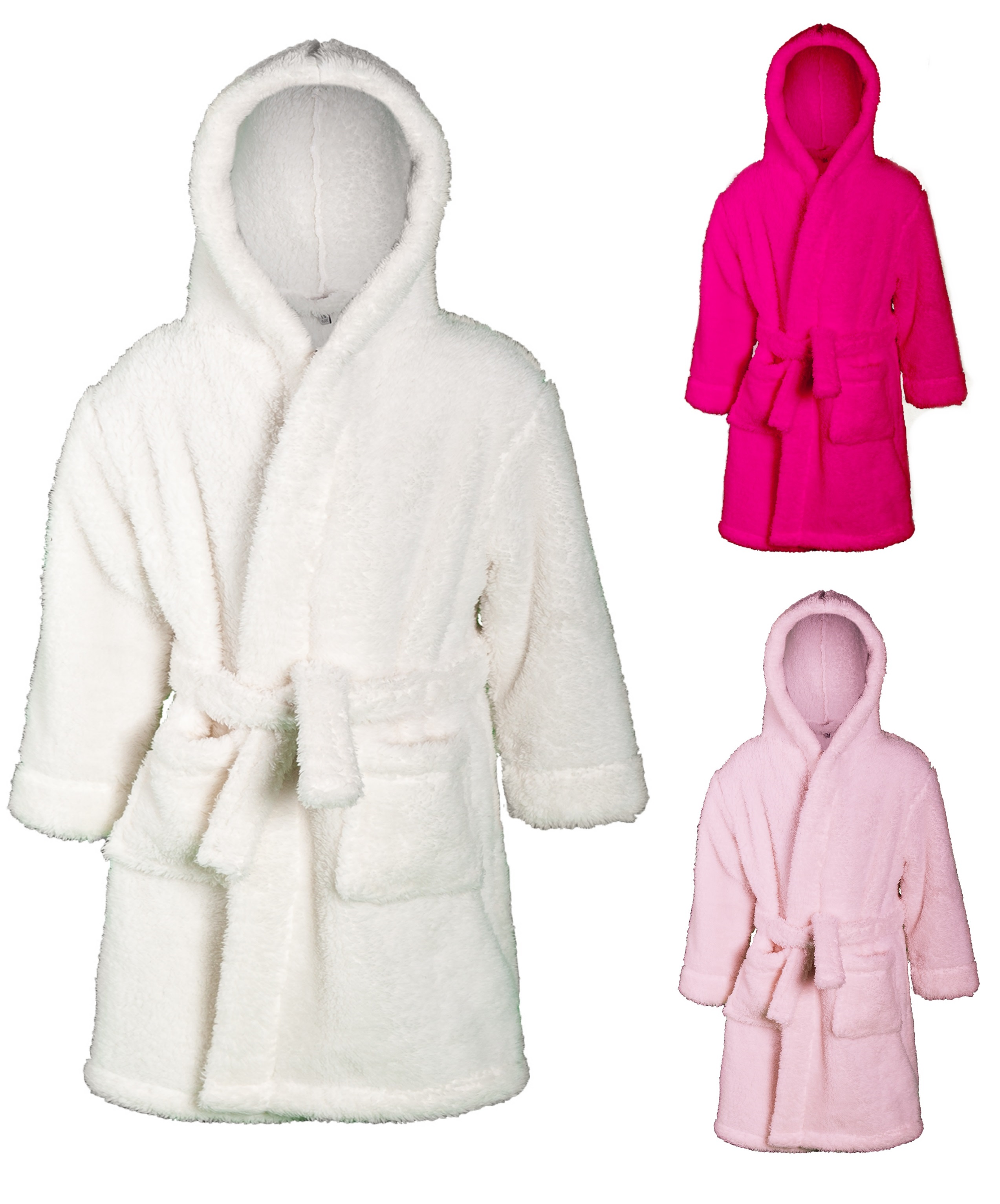 Girls Luxury Hooded Dressing Gown Supersoft Fleece Bath Robe ...