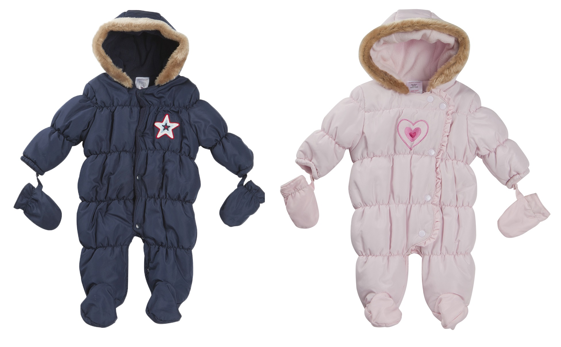 Baby Boys Girls Hooded Snowsuit Quilted Pramsuit All In e Coat