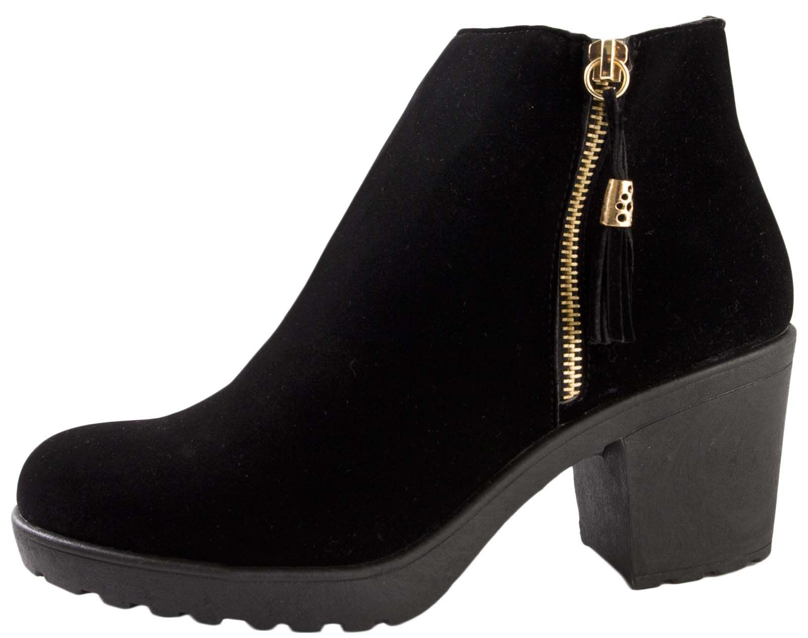 c14eb136adcf Womens Chelsea Ankle Boots With Tassels Faux Leather Chunky Block ...