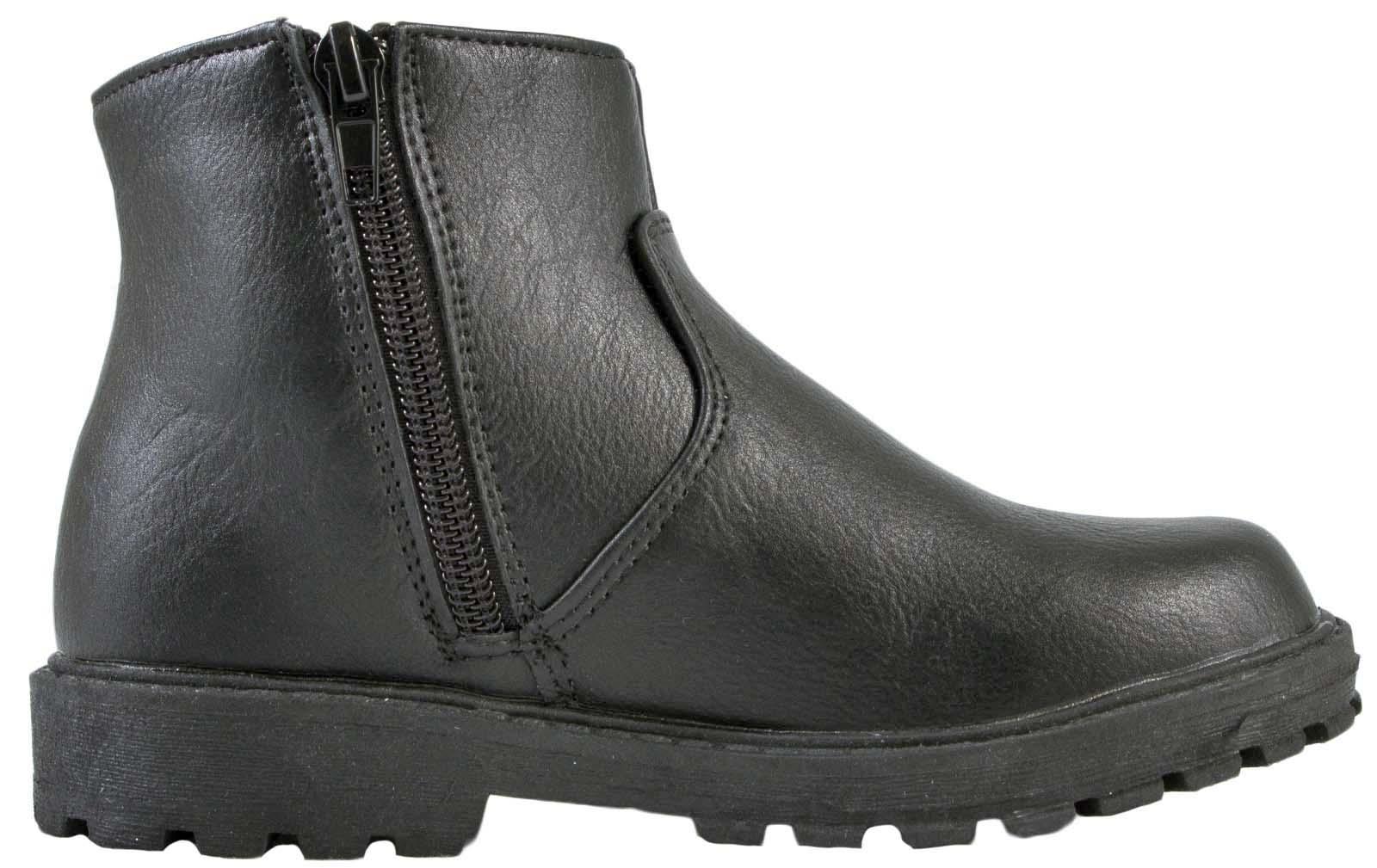 Boys Black School Shoes Faux Leather