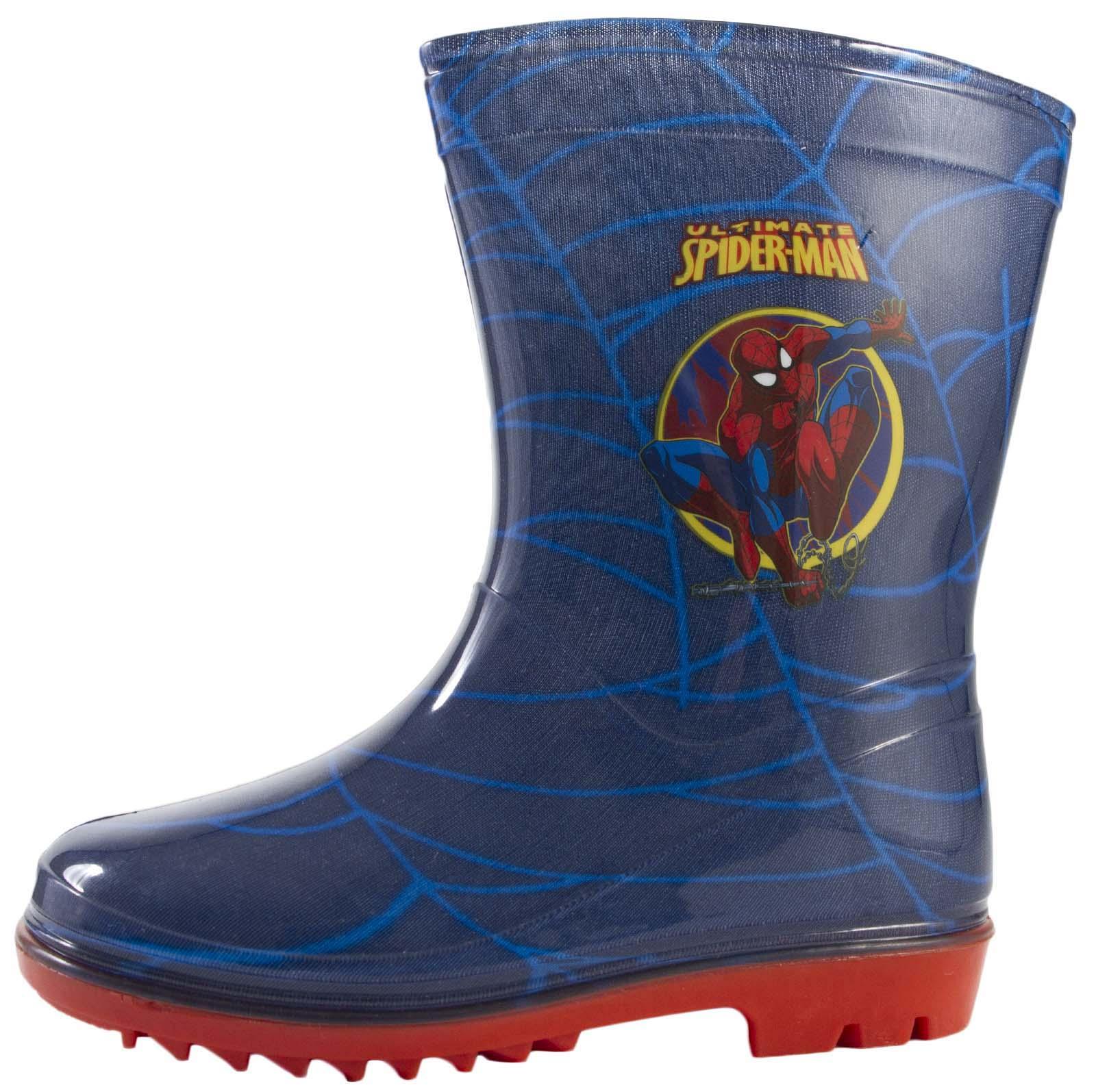 Kids Boys Marvel Spiderman Snow Winter Boots Wellies Wellingtons Black Size 5-13