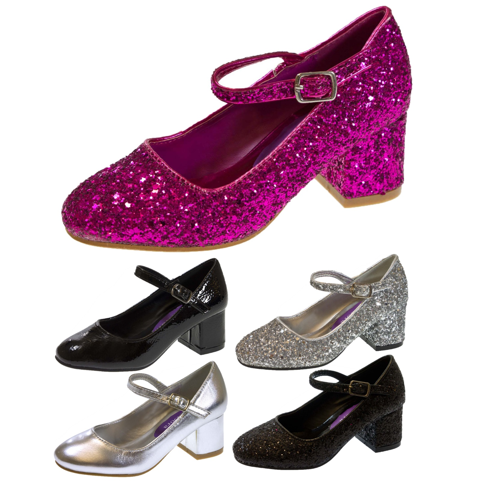 Silver Patent High Heeled Shoes And Matching Clutch Size