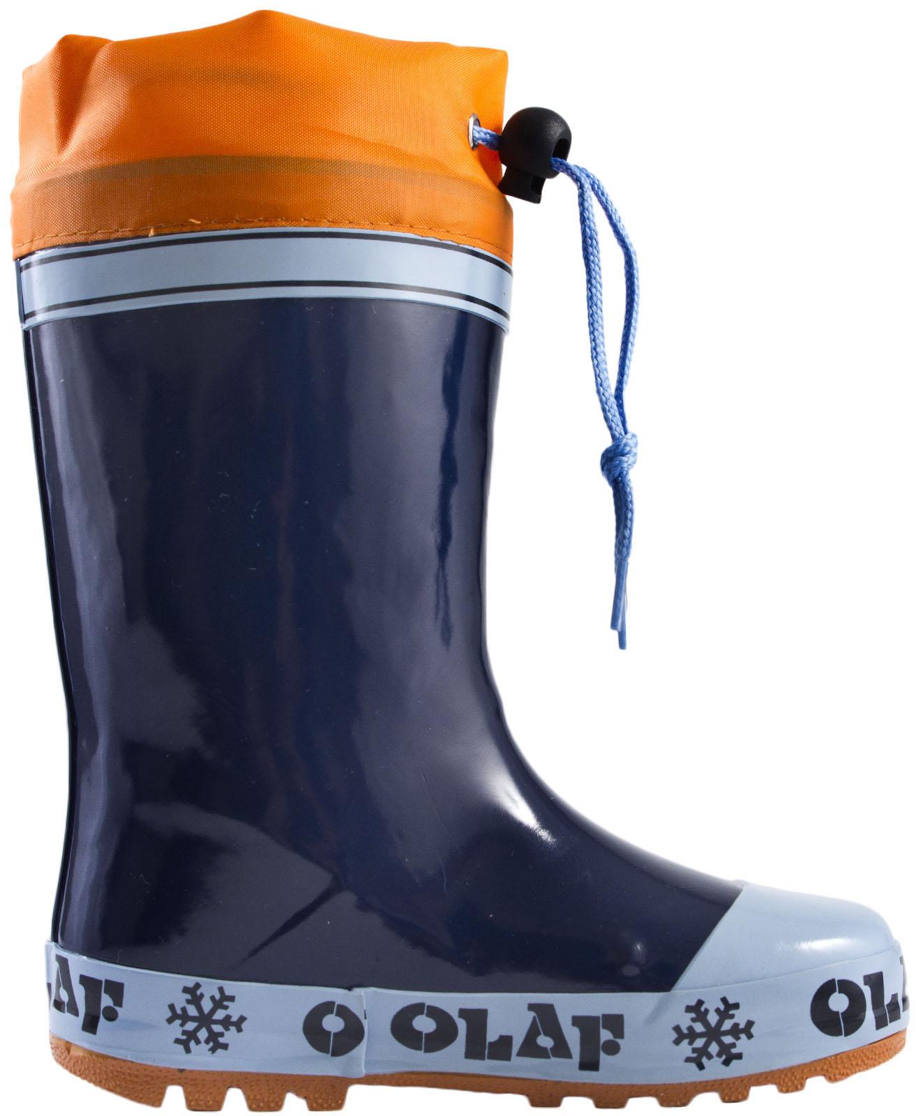 Frozen Olaf Wellington Boots Fleece Lined Rubber Tie Top Snow Wellies Boys Size