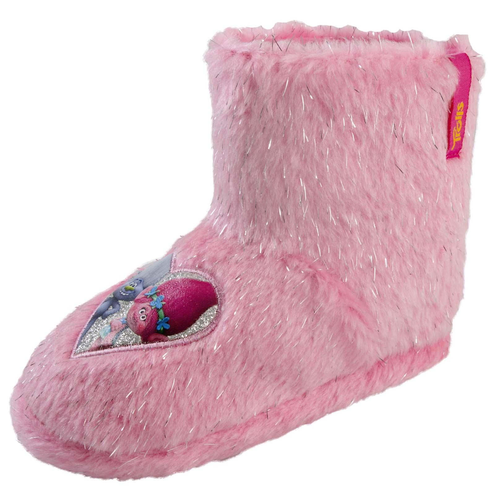 girls trolls pink princess poppy slippers booties glitter mules kids