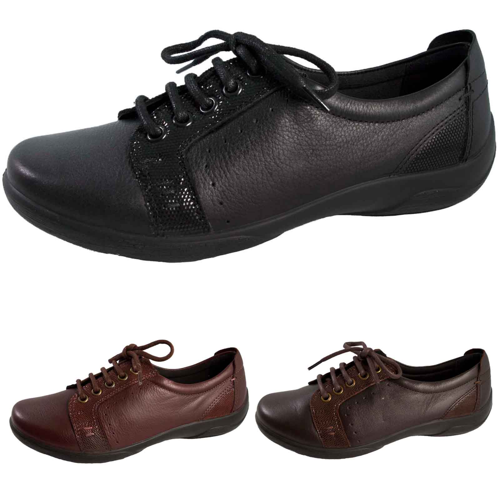 431aead8861b Padders Womens Leather Comfort Shoes Wide Fitting Lace Up Pumps Orthopedic  Size