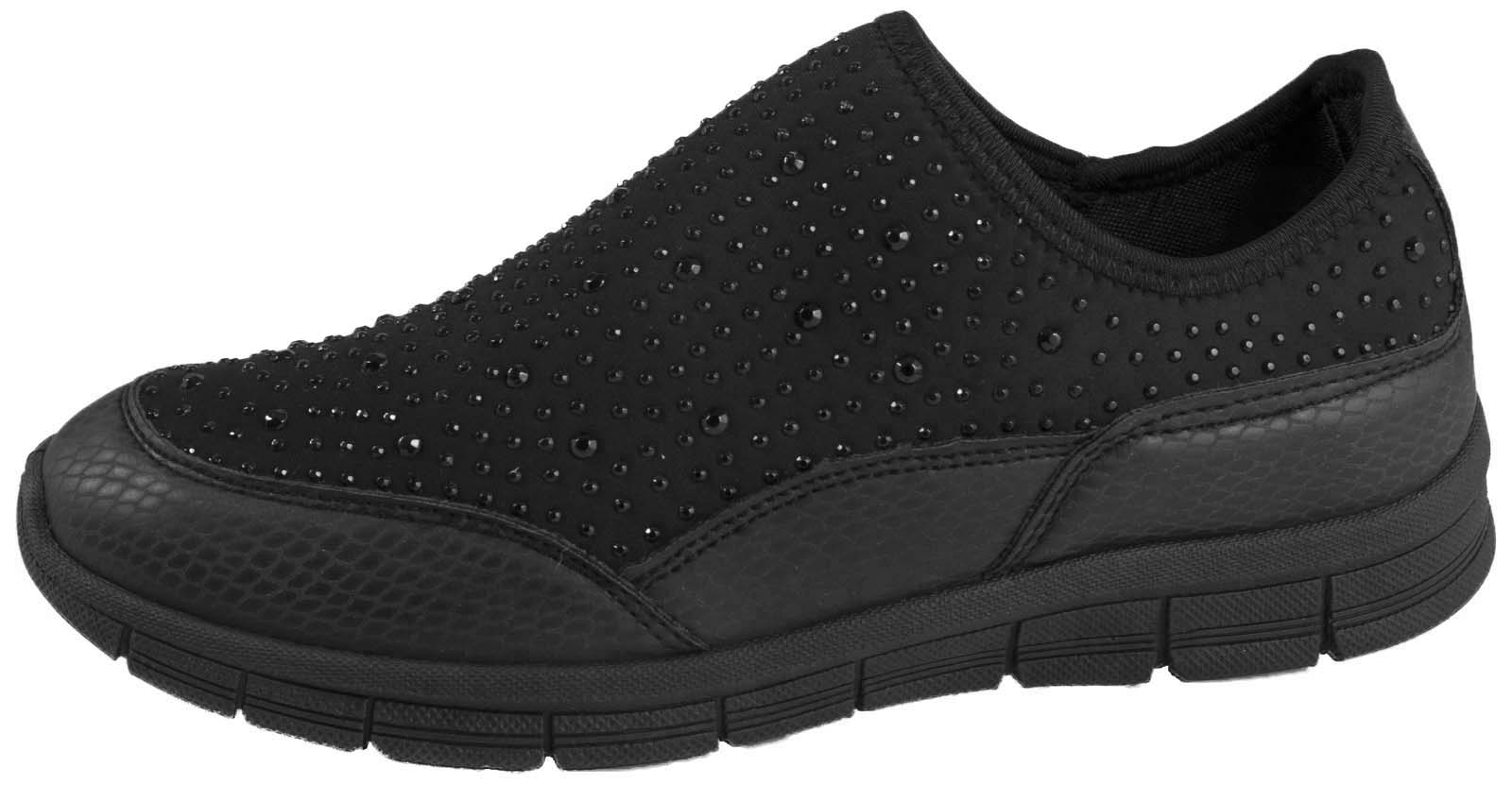 Womens-Diamante-Glitter-Trainers-Slip-On-Pumps-Comfort-Running-Gym-Shoes-Size