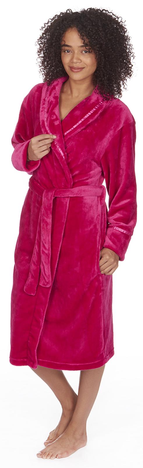 Womens Full Length Luxury Flannel Fleece Dressing Gown Bath Robe ...
