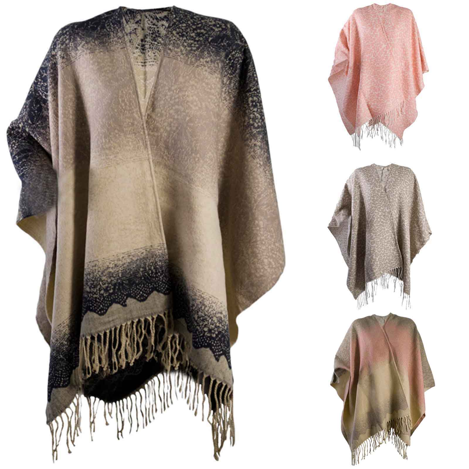 Details about Womens Warm Winter Shawl Poncho Wrap Knitted Cape Scarf Throw  Ladies One Size