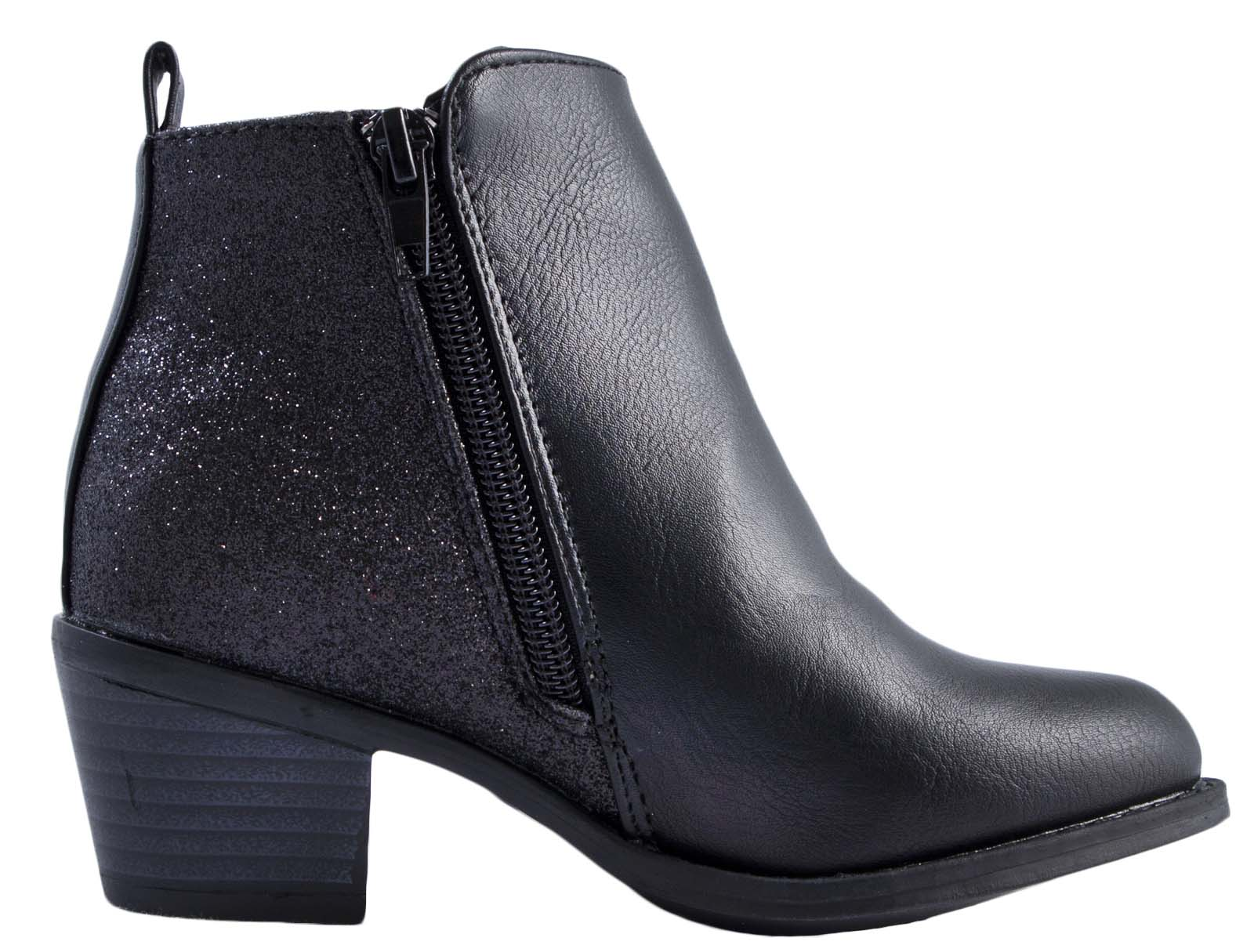 Details about Girls Faux Leather Chelsea Ankle Boots Snake Glitter Low Heel  Winter Shoes Size