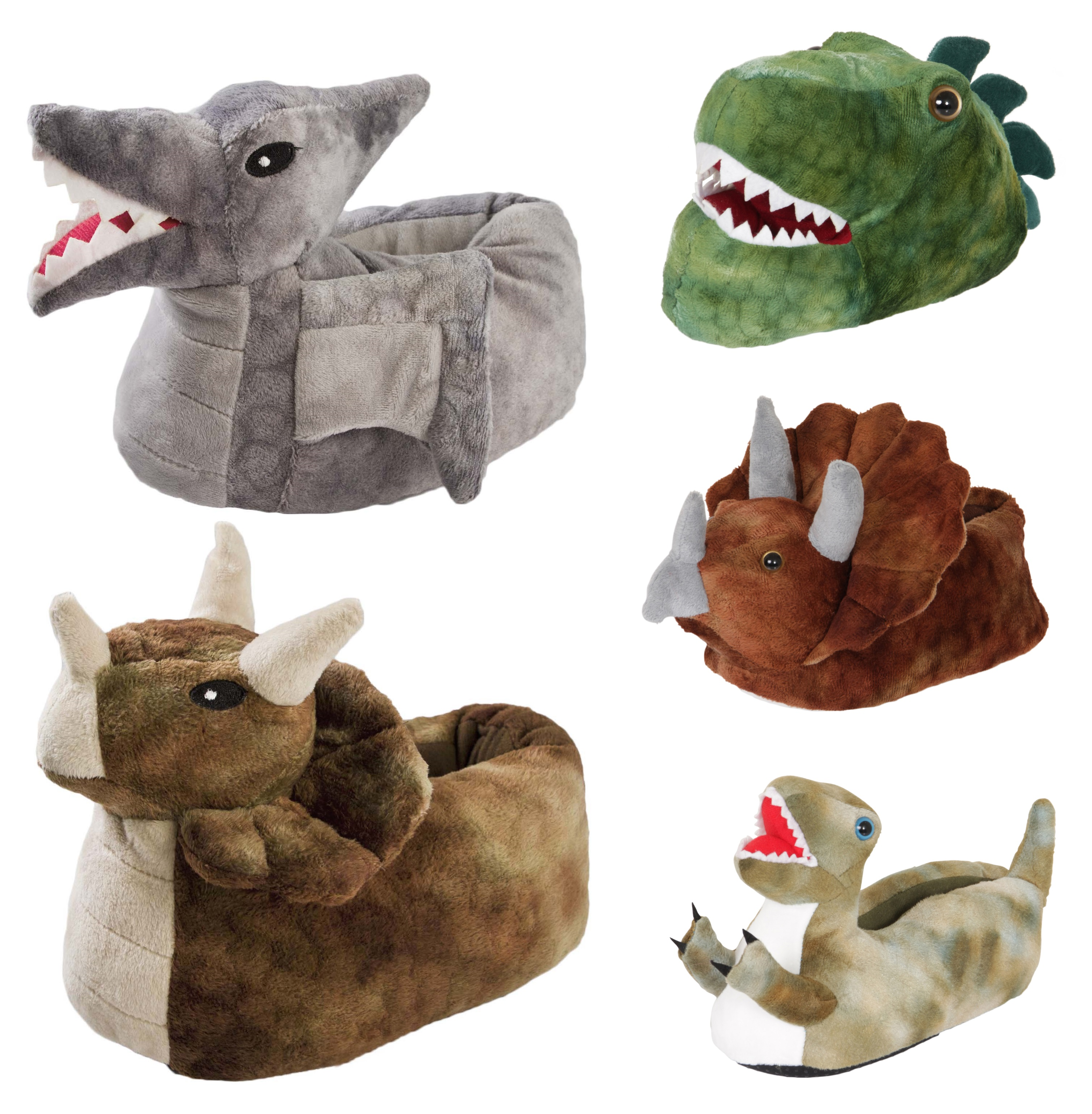 Boys Dinosaur Novelty 3D Character Plush Animal Slippers UK 9-3