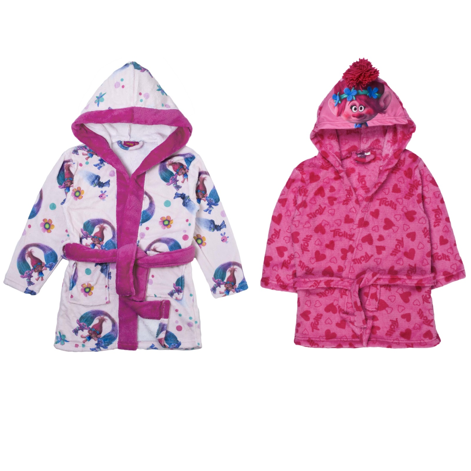 9f7937ee0 Girls Trolls Hooded Fleece Dressing Gown Poppy Satin Pink Bath Robe ...