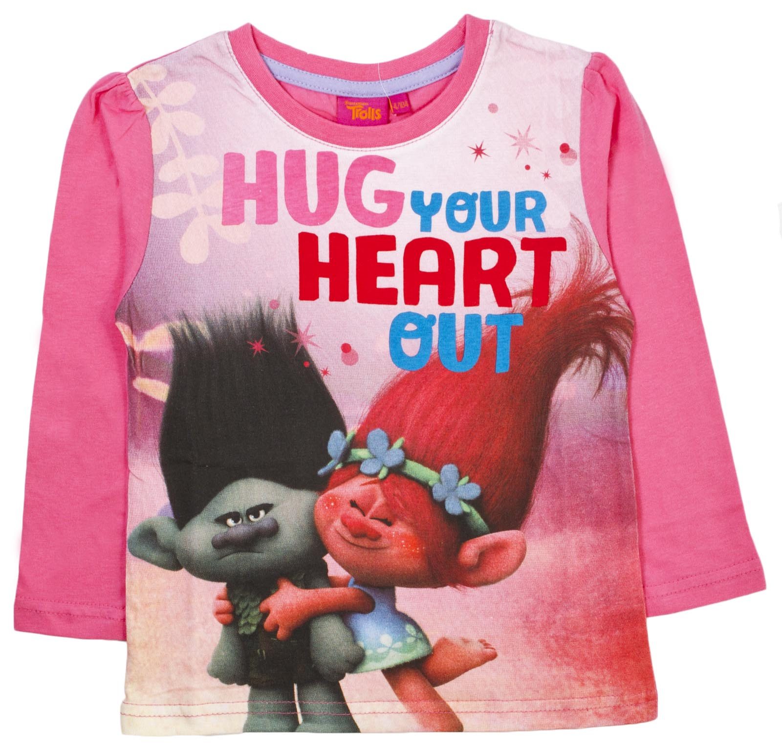 girls trolls pyjamas full length pink poppy branch pjs 2 piece pj
