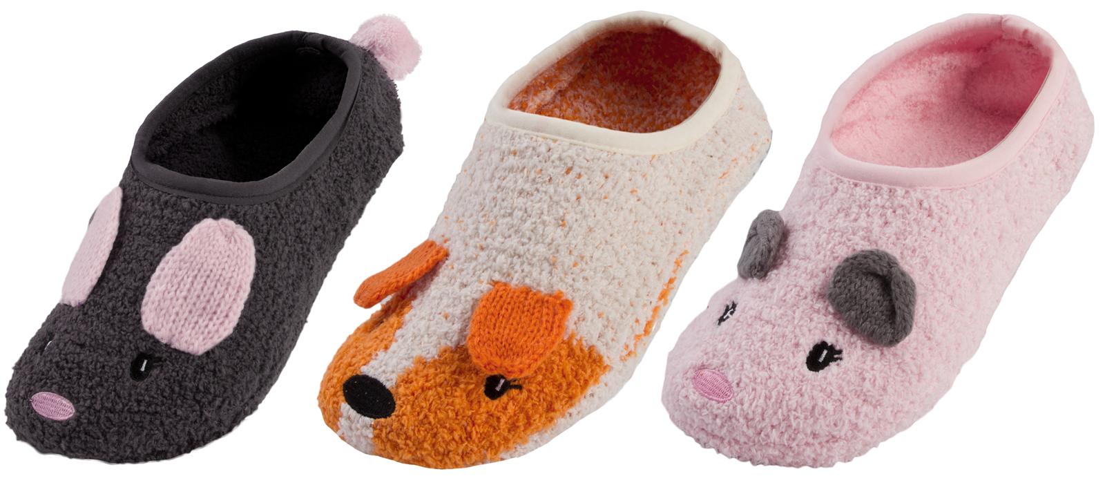 Ladies Cute Fox Novelty Non Skid Faux Fur lined Slipper Socks