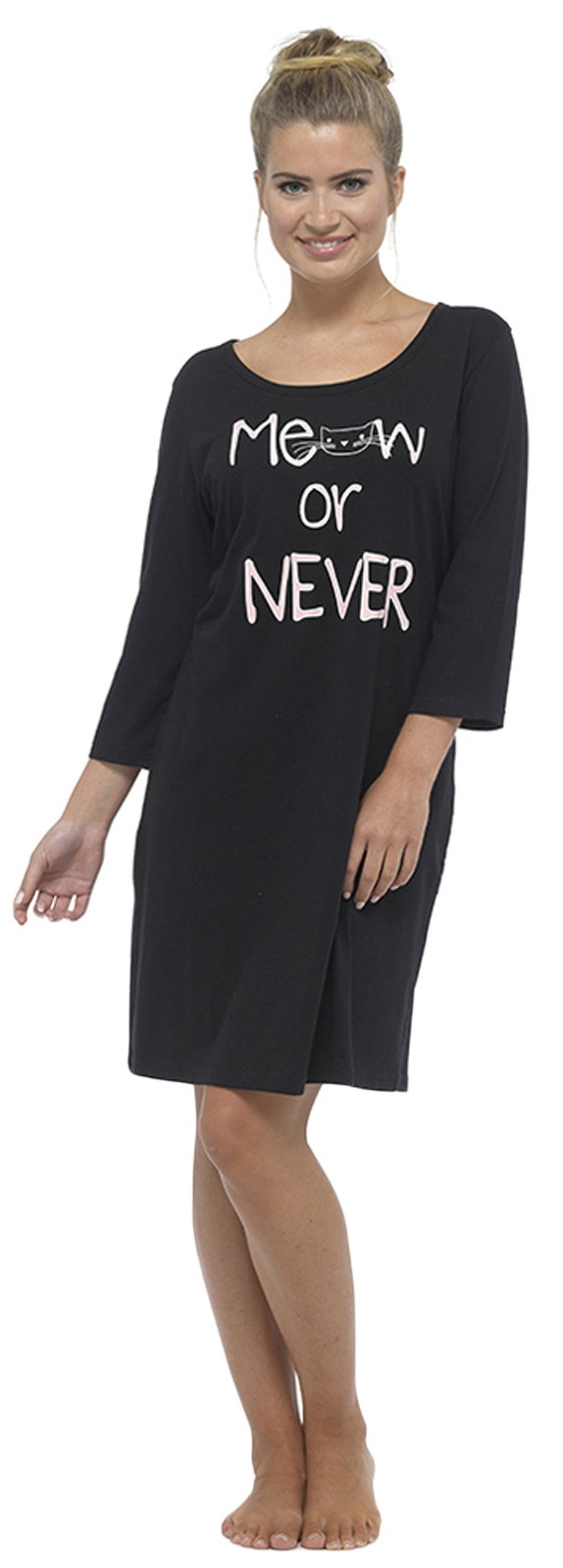 f5331d8f4121 Womens Long / Short Sleeve Nightdress T Shirt Slogan Nighty Pyjamas ...