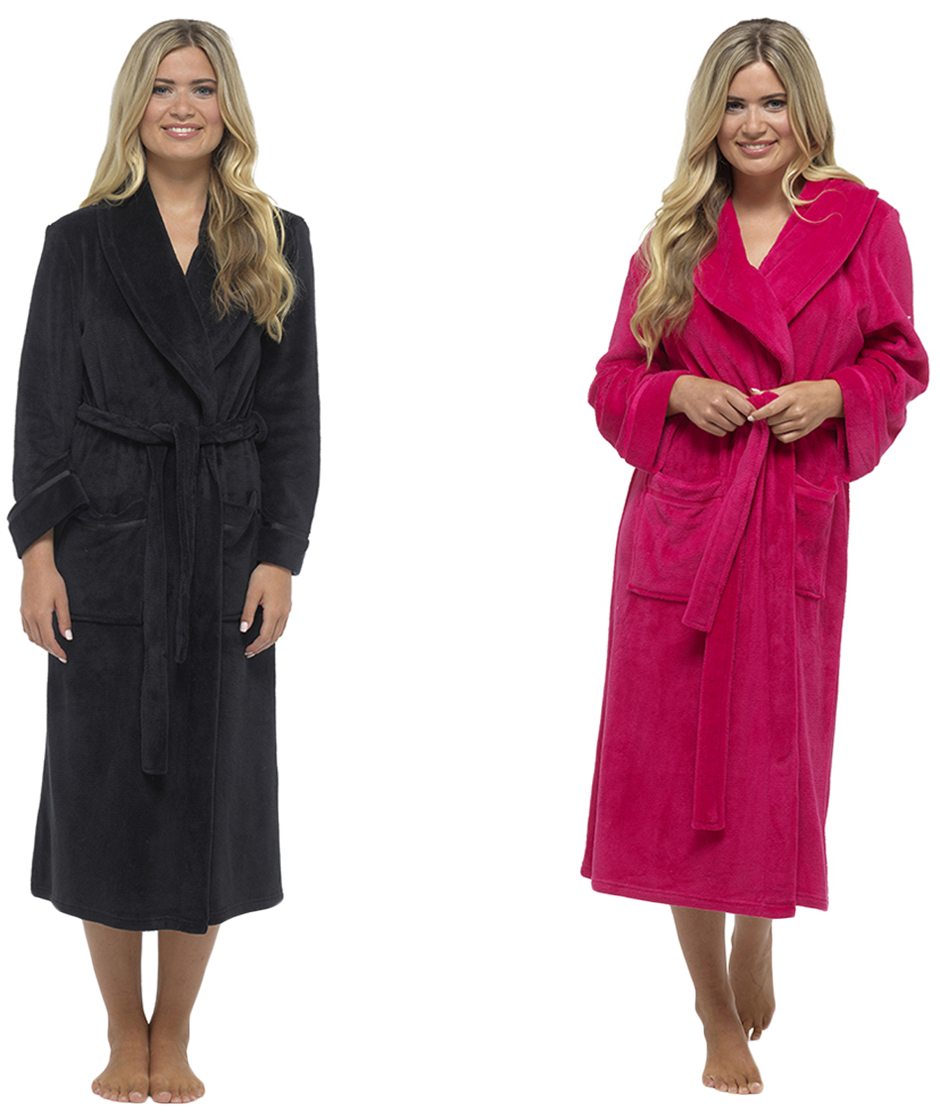 luxury womens full length fleece dressing gown long warm. Black Bedroom Furniture Sets. Home Design Ideas