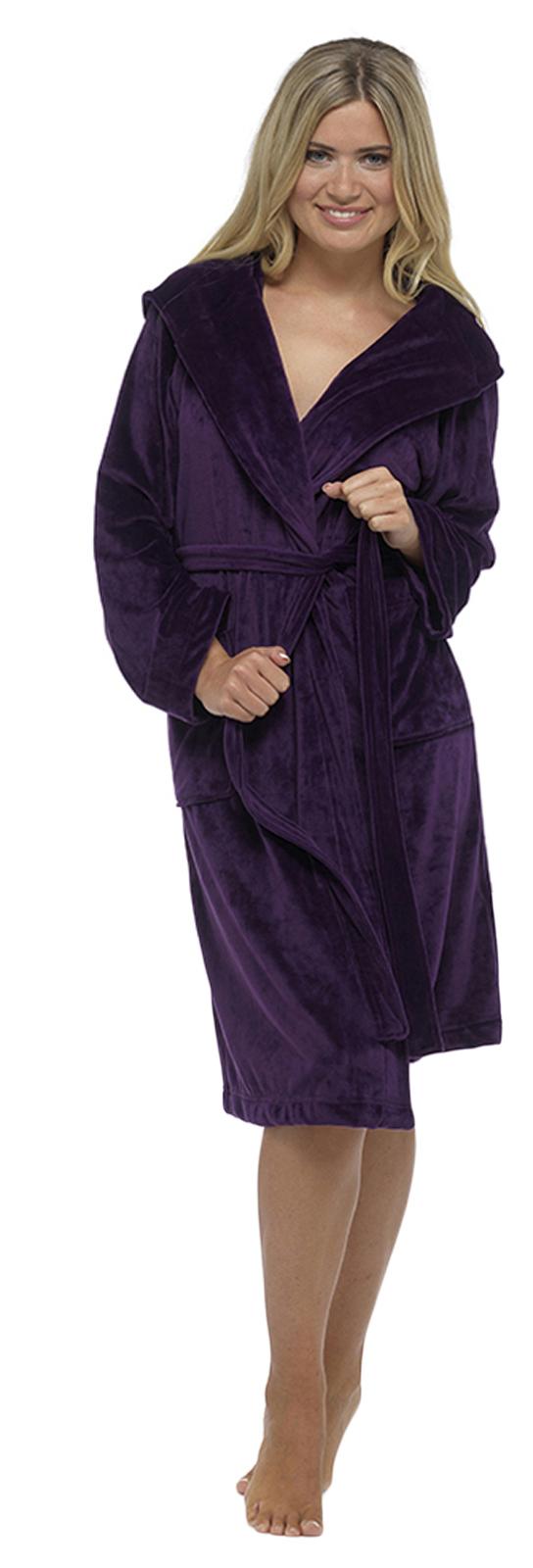 Womens Brushed Velour Velvet Moleskin Dressing Gown Hooded Bath Robe ...