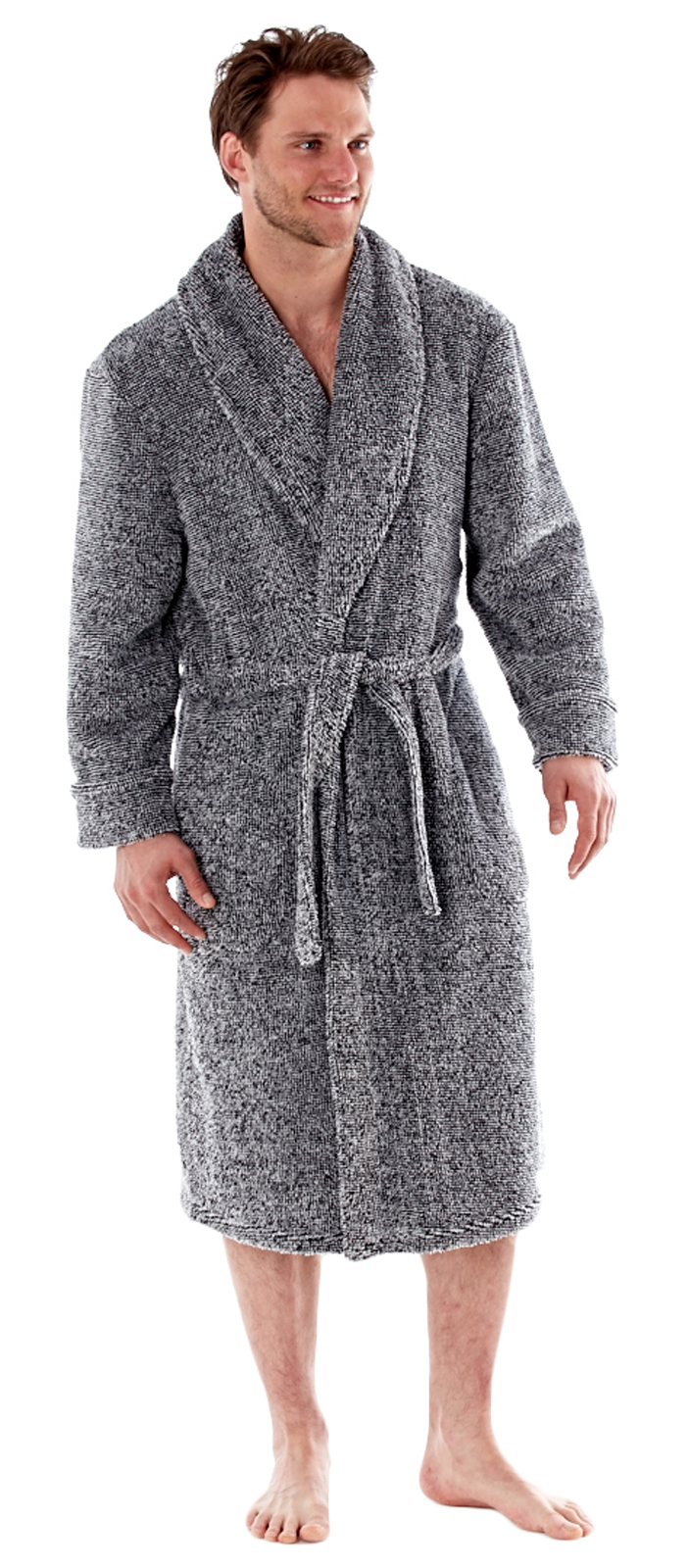 Luxury Mens Grey Marl Fleece Dressing Gown Gents Bath Robe House