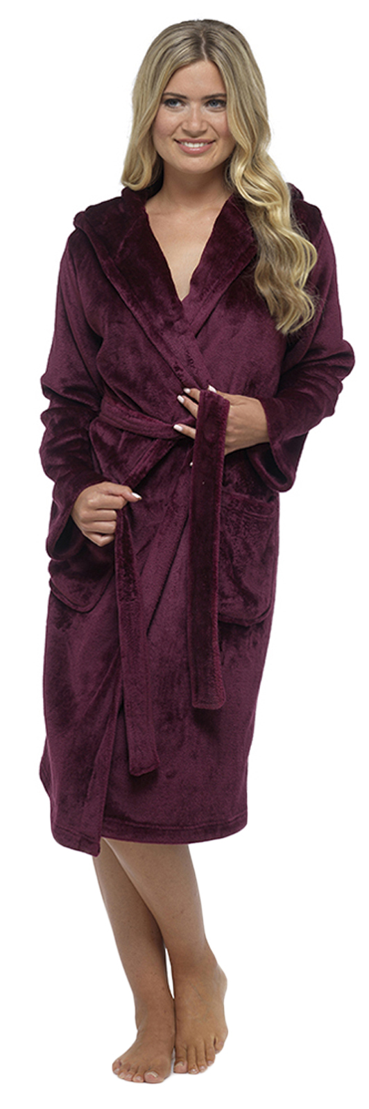 Womens Full Length Luxury Flannel Fleece Dressing Gown Bath Robe ...