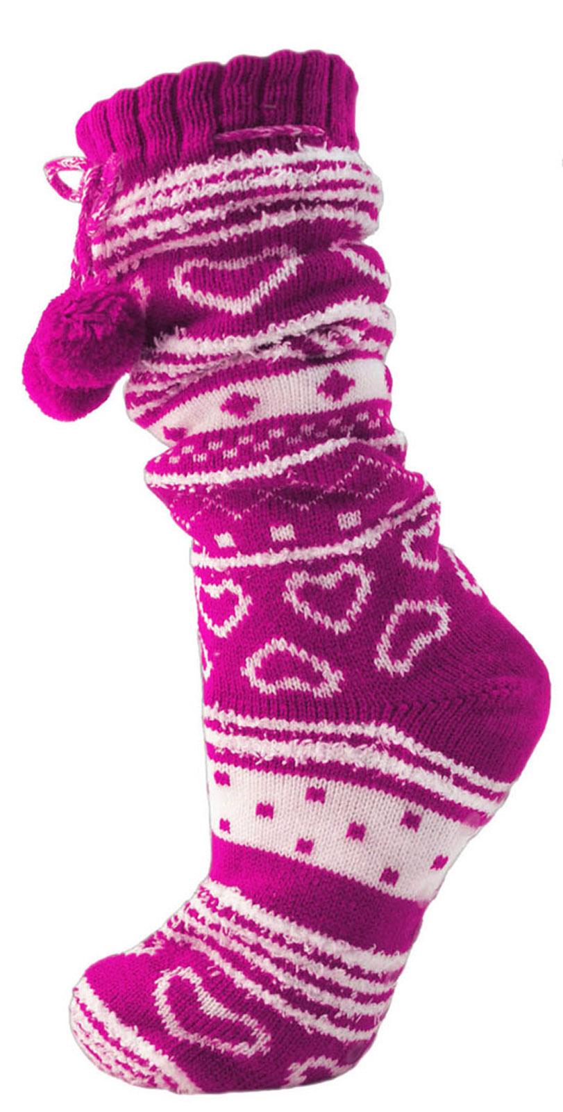 Para mujeres damas niñas Piel Forrada Zapatilla Calcetines Botín Botines pompones Talla 4-7