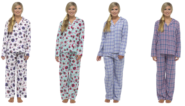 Luxury Womens Pyjamas Full Length Sheep Print Pjs 2 Piece Set Warm Winter  Size eaf795656