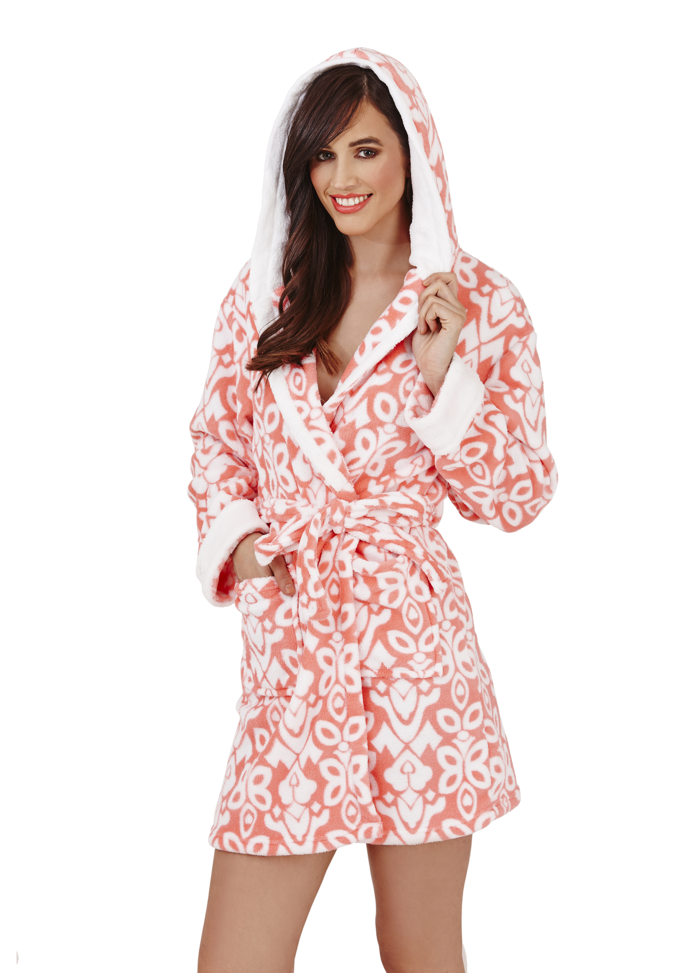 Womens Short Luxury Fleece Dressing Gown Belt Bath Robe