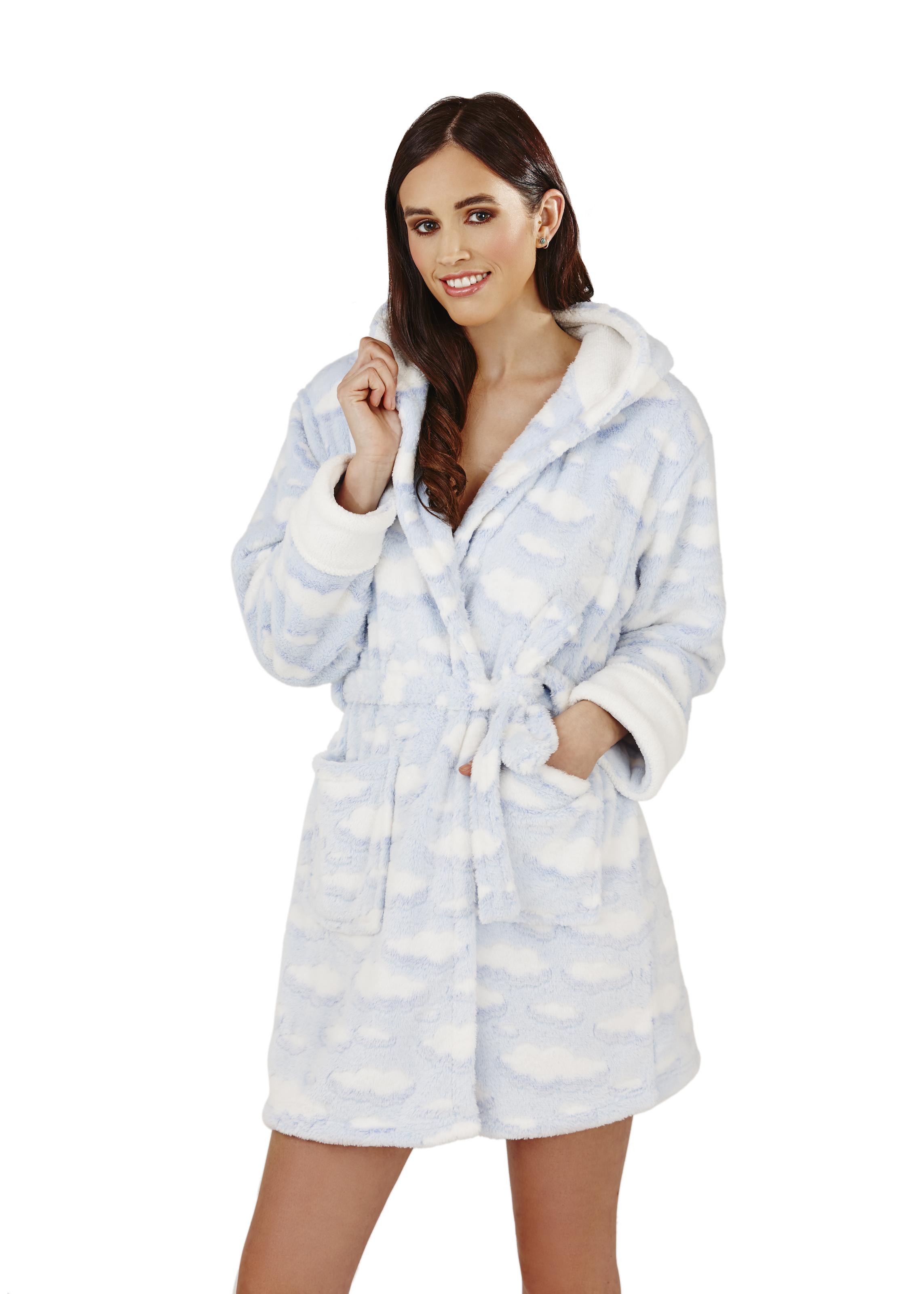 Womens Short Luxury Fleece Dressing Gown + Belt Bath Robe Housecoat ...